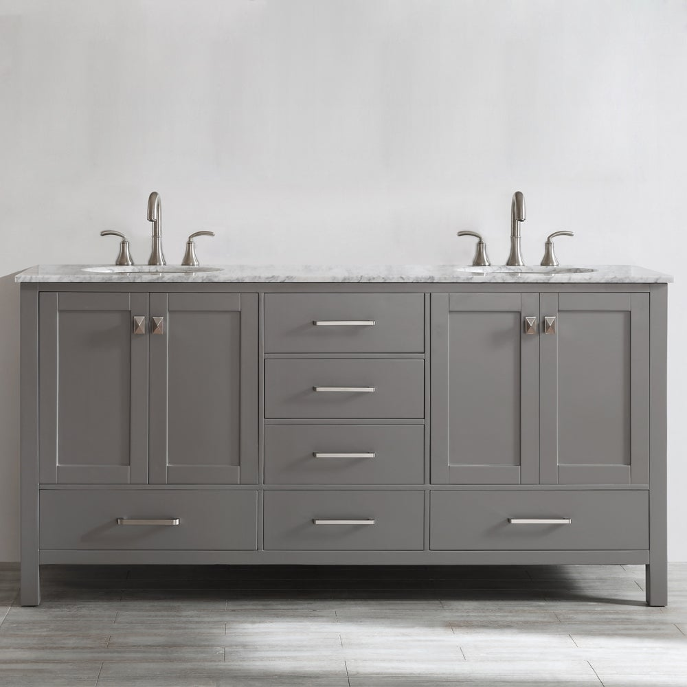 double vanity with top. Shop Gela 72-inch Grey Double Vanity With Carrera White Marble Top Without Mirror - Free Shipping Today Overstock.com 10601778 C