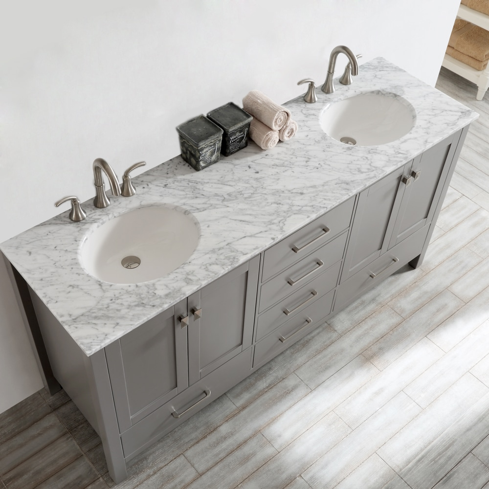 Gela 72 Inch Grey Double Vanity With Carrera White Marble Top Without Mirror Free Shipping Today 10601778