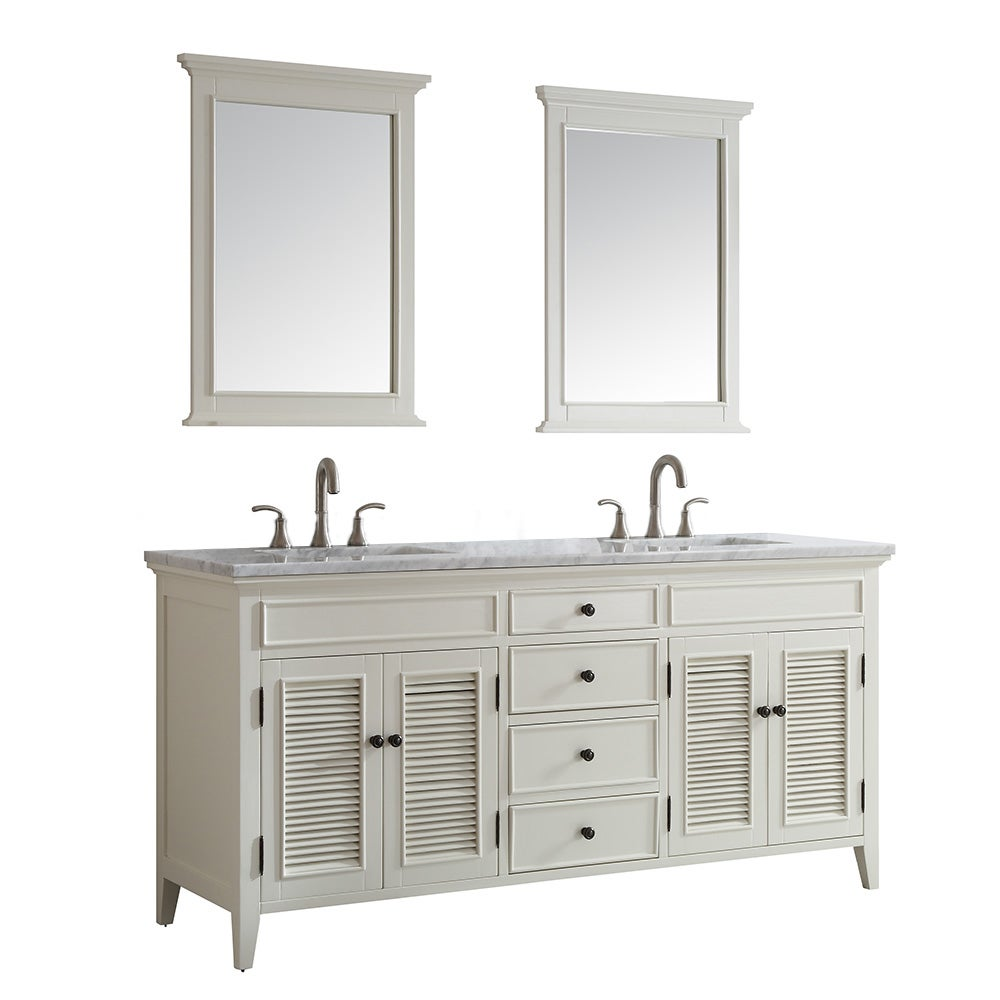 Vinnova Piedmont 72-inch Antique White Double Vanity with Carrera White  Marble Top, and Mirror - Free Shipping Today - Overstock.com - 17674300 - Vinnova Piedmont 72-inch Antique White Double Vanity With Carrera