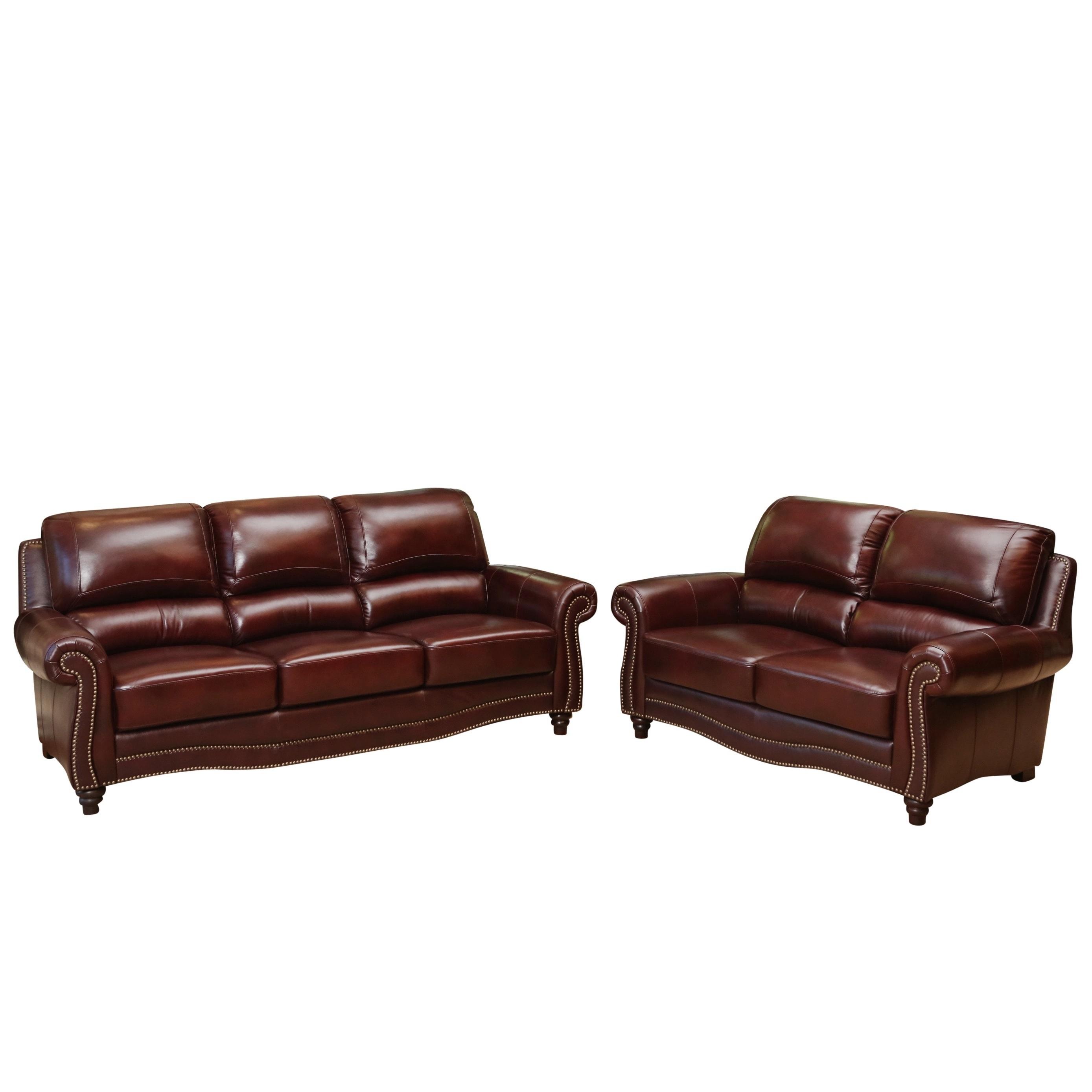 Abbyson barkley top grain burgundy leather sofa and loveseat