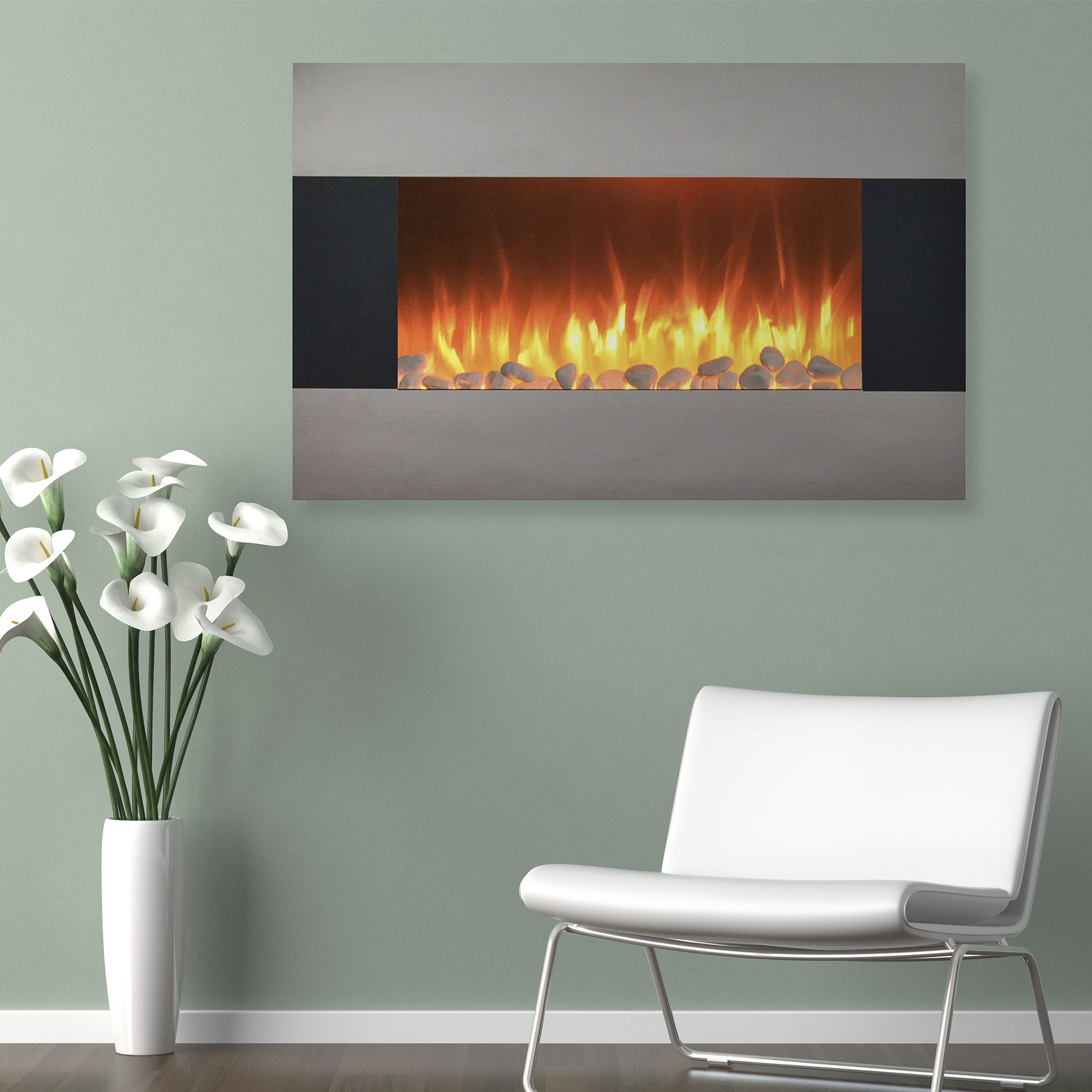 Shop 36 Inch Stainless Steel Electric Fireplace With Wall Mount