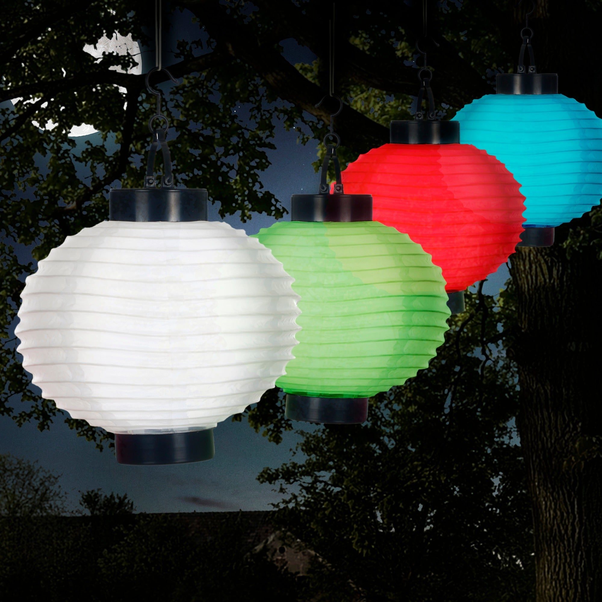 Pure Garden Outdoor Solar Led White Chinese Lanterns Set Of 4 On Free Shipping Orders Over 45 10603477