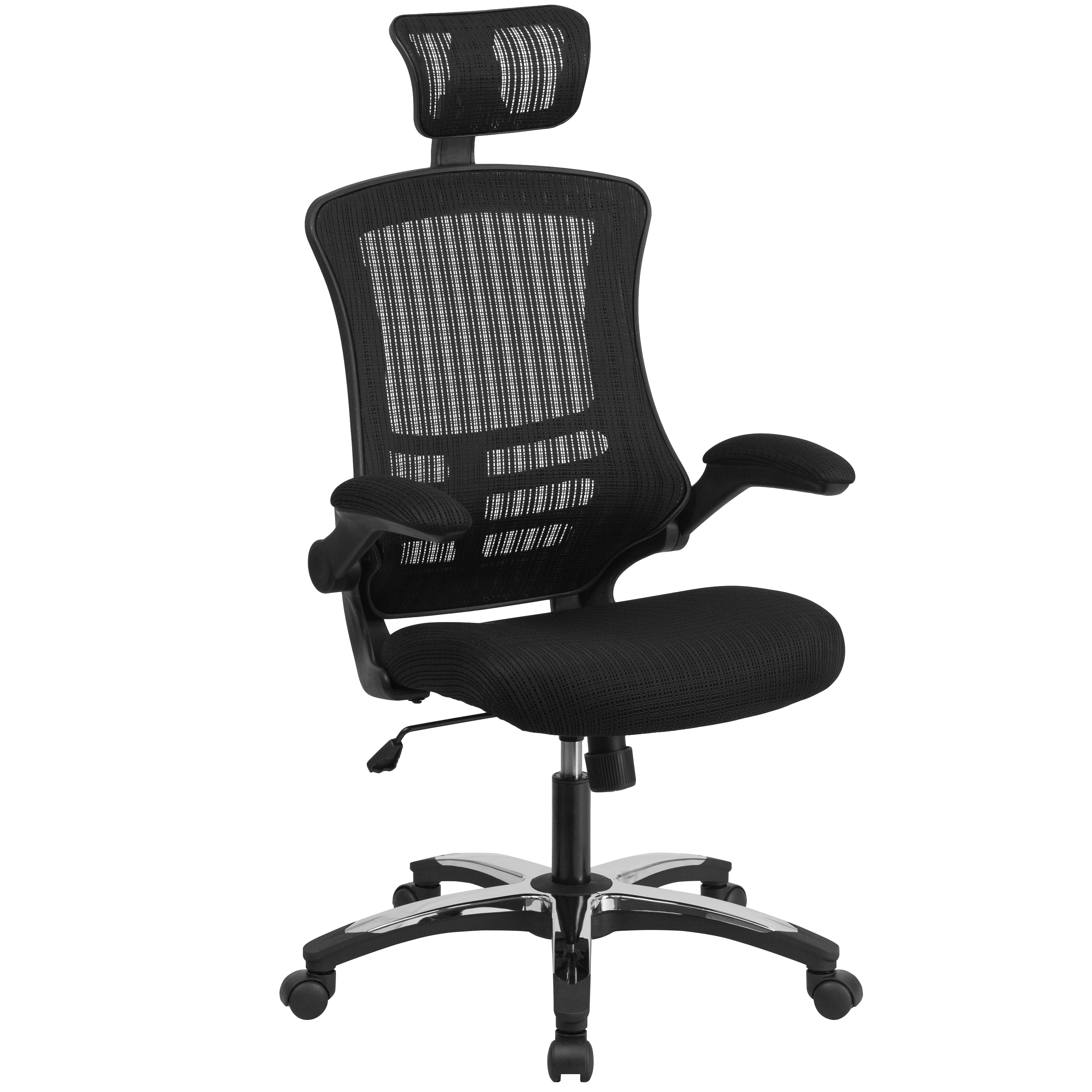 High Back Mesh Executive Swivel Office Chair With Flip Up Arms And Chrome Nylon Designer Base On Free Shipping Today