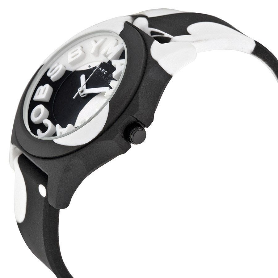 c6dc0a61f59 Shop Marc Jacobs Women s  Sloane  Black and white Silicone Watch - Free  Shipping Today - Overstock - 10605828