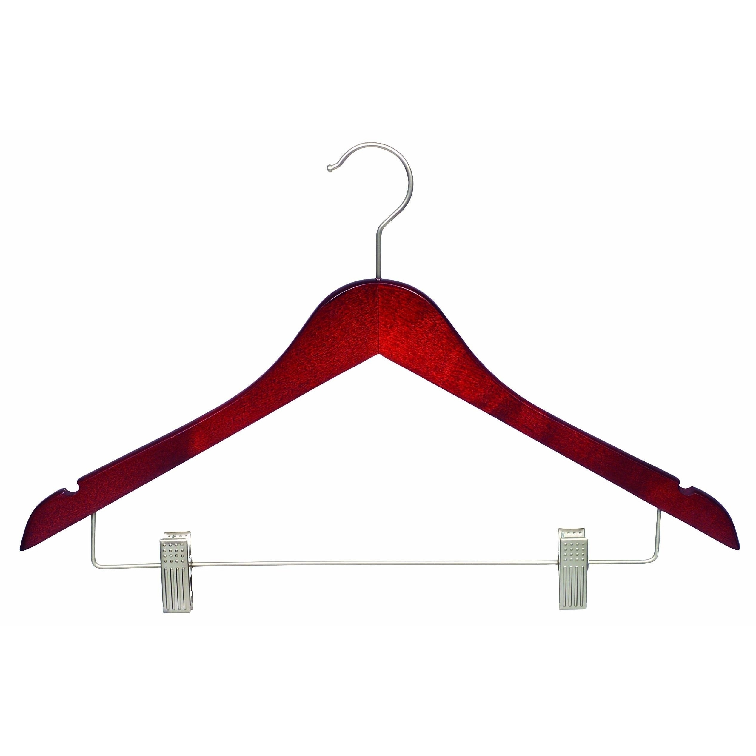 Cherry Finish Wooden Combo Hanger with Clips, Brushed Chrome Hardware (Box  of 50) - Free Shipping Today - Overstock.com - 17677885