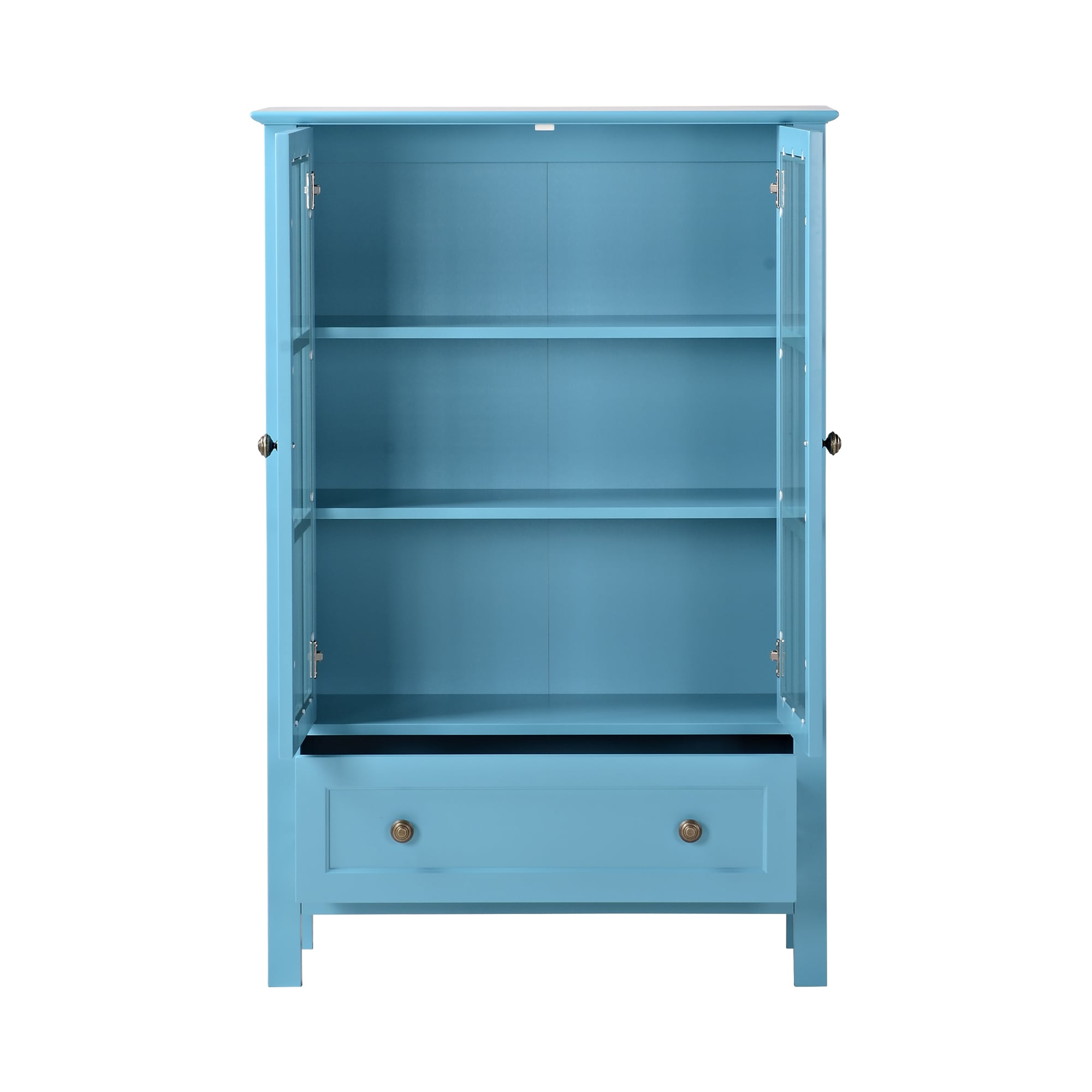 Shop Glass 2 Door Tall Cabinet with Drawer - Free Shipping Today ...