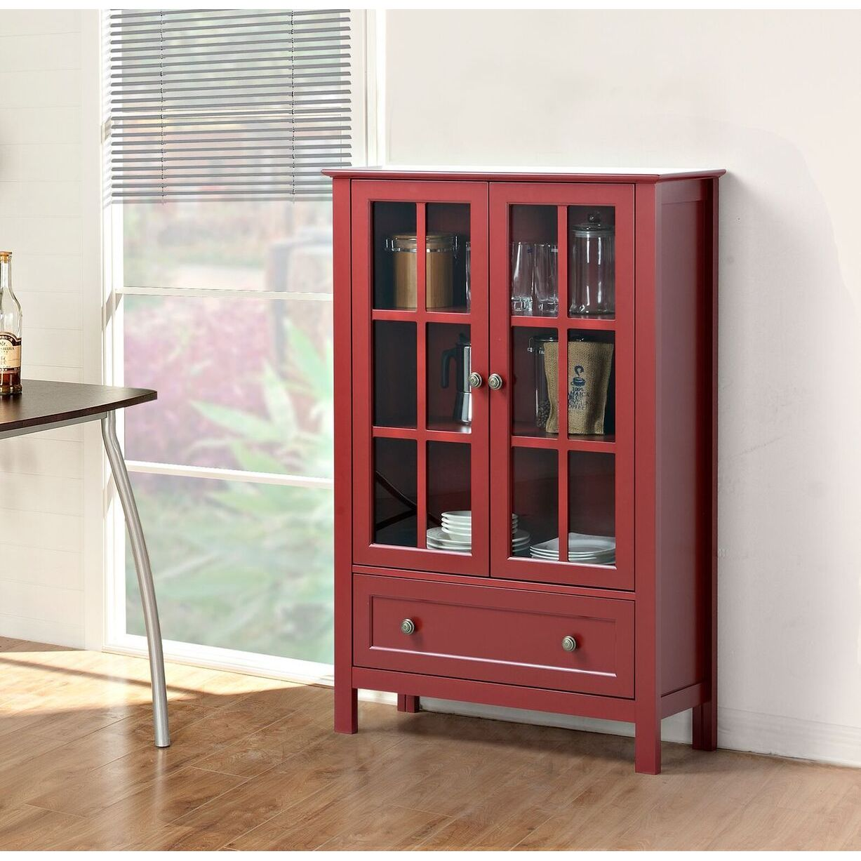 Shop Glass 2 Door Tall Cabinet With Drawer Free Shipping Today