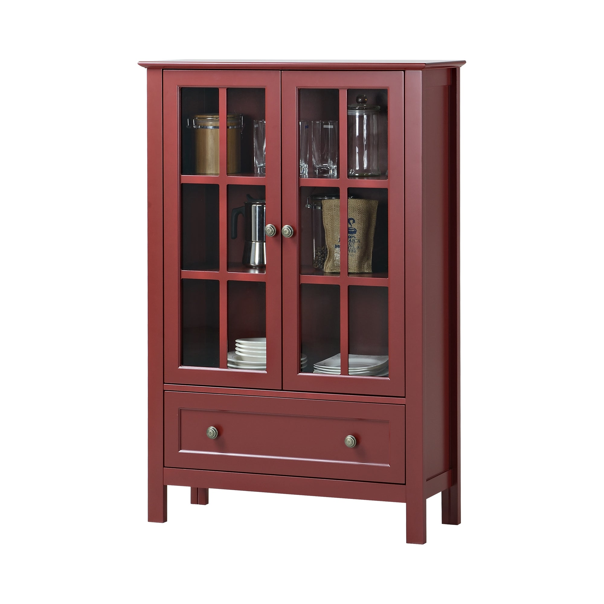Homestar Glass 2 Door Accent Storage Cabinet With Drawer   Free Shipping  Today   Overstock.com   17678060