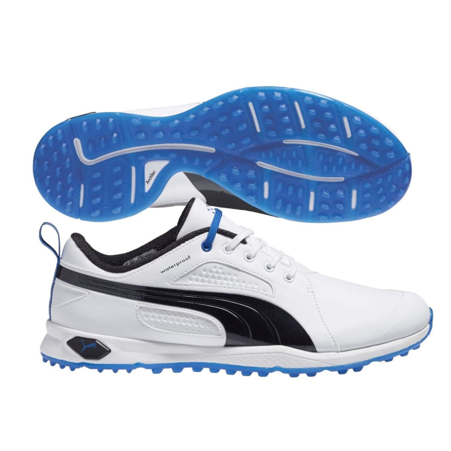 73b73c9a0bb33c Shop Puma Men s Biofly White  Black  Strong Blue Golf Shoes - Free Shipping  Today - Overstock - 10606285