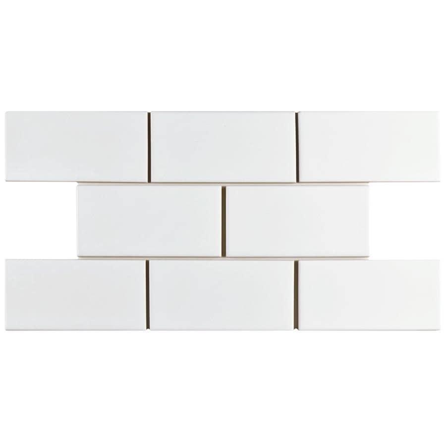 Shop Somertile 3x6 Inch Malda Subway Glossy White Ceramic Wall Tile