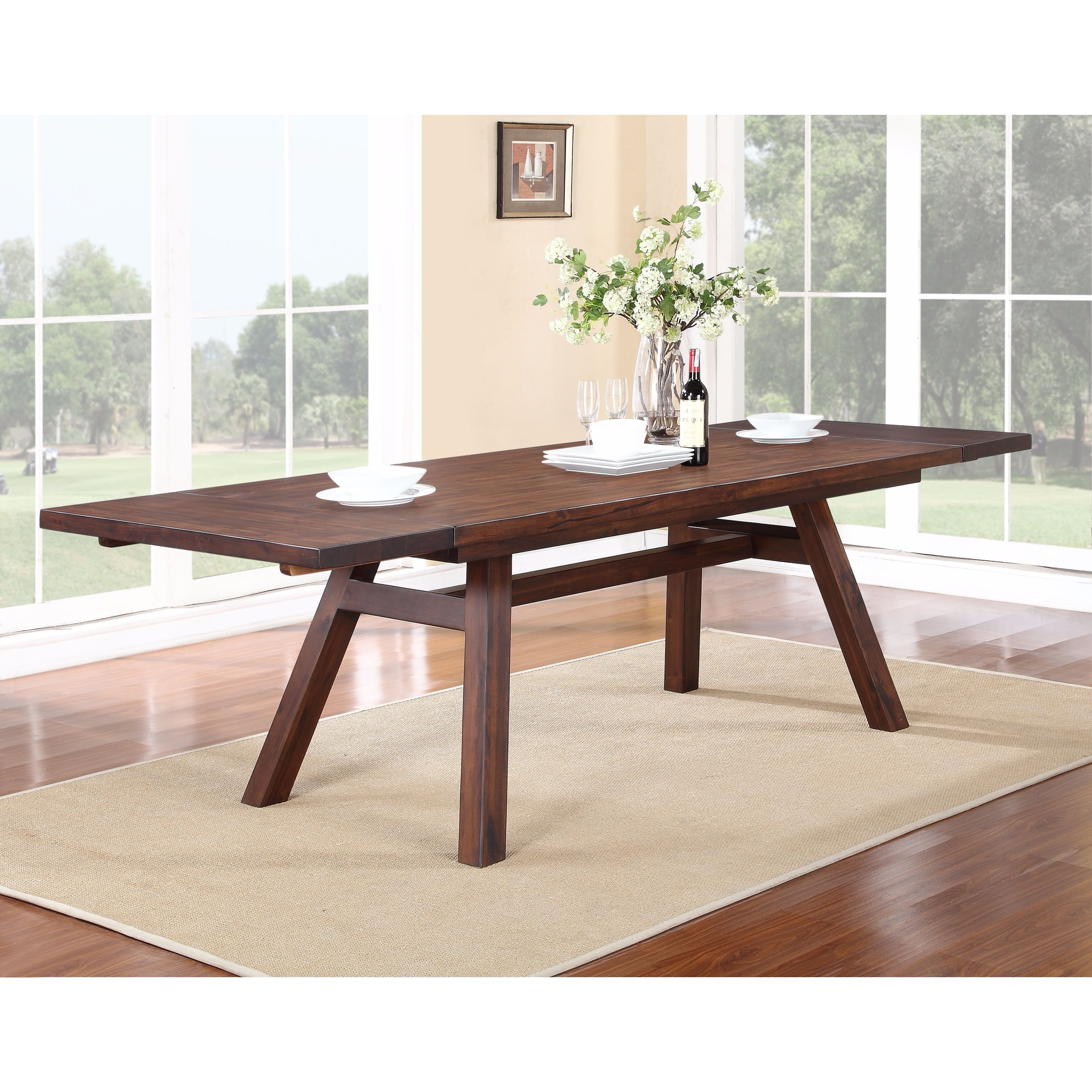 Solid Wood Modern Rectangular Extension Table