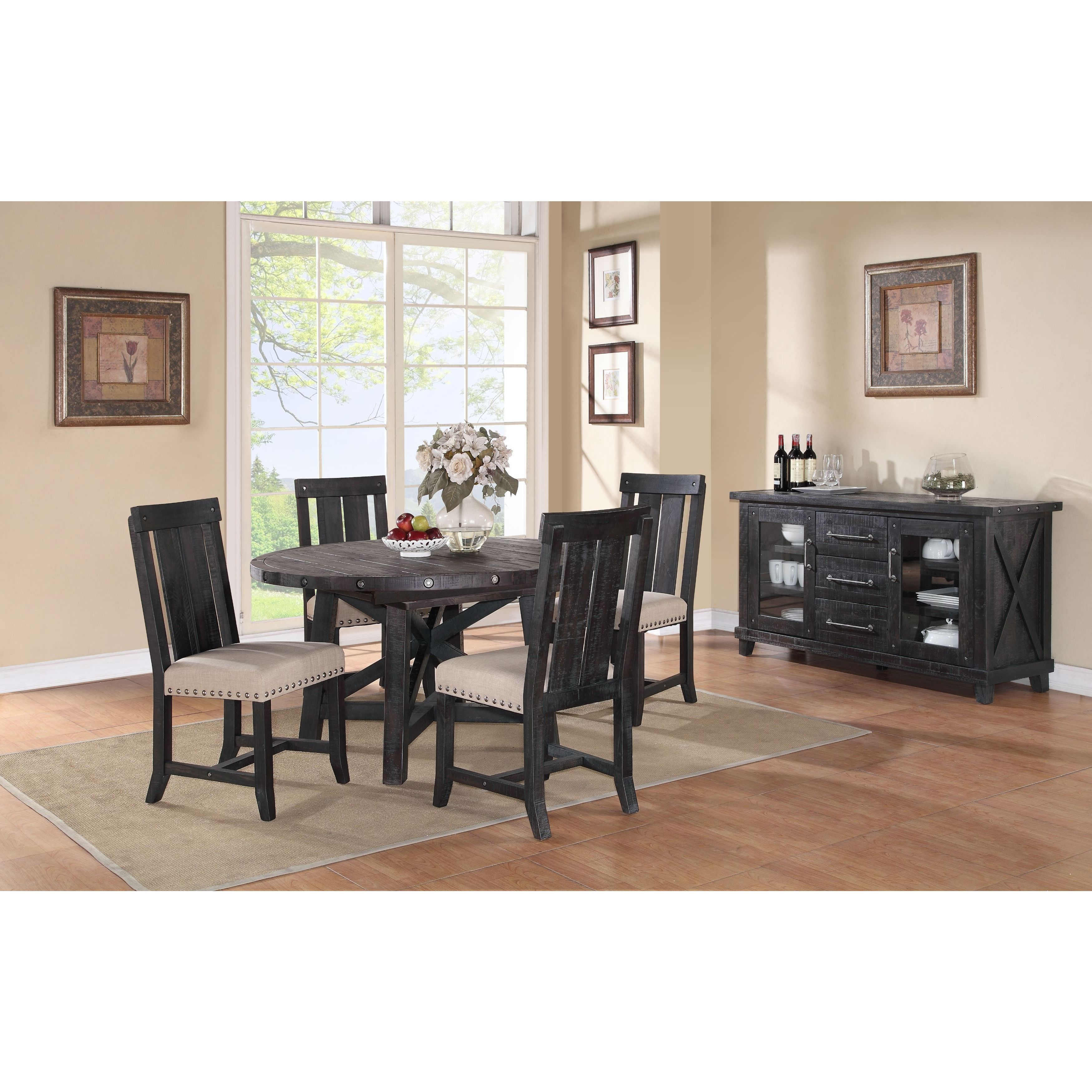 Shop Industrial Solid Wood Round Extension Table   Free Shipping Today    Overstock.com   10608383