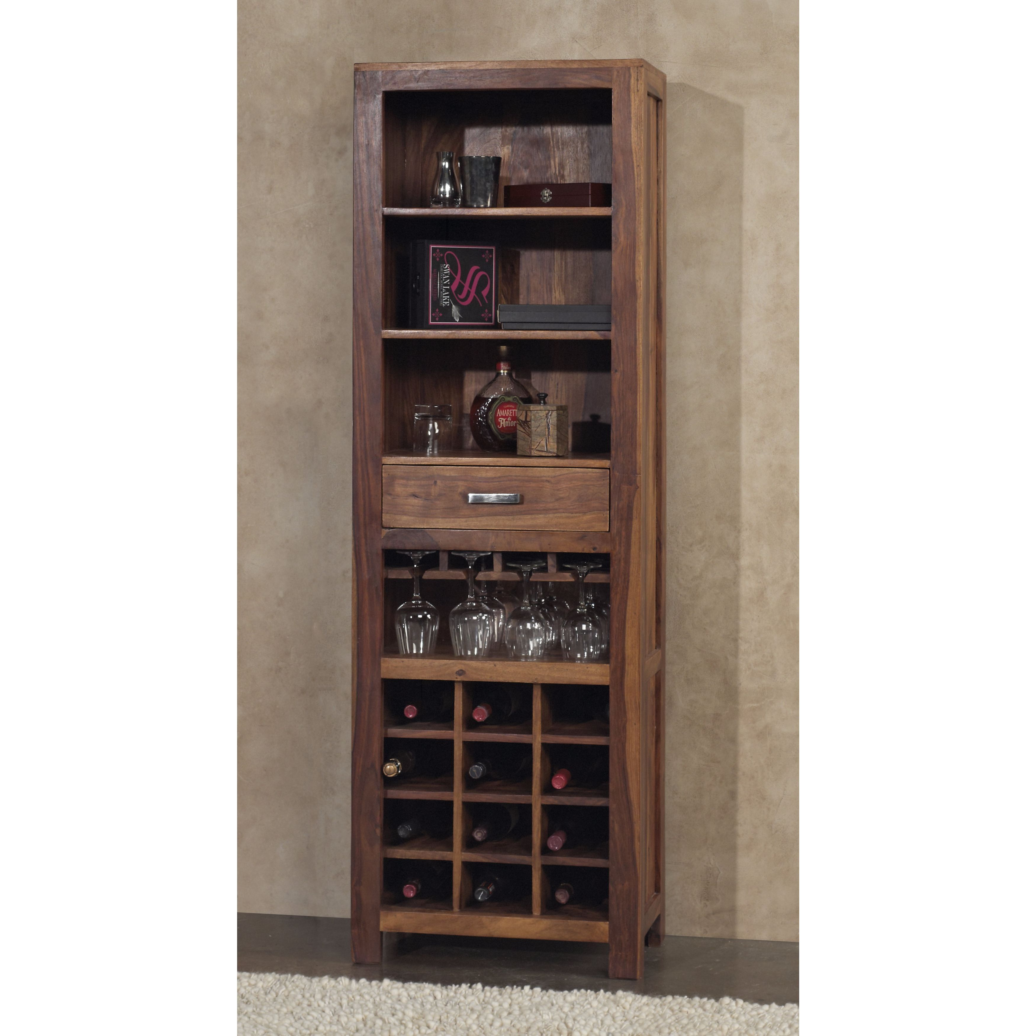 Sheesham Wood Rustic Wine Tower - Free Shipping Today - Overstock.com -  17680055