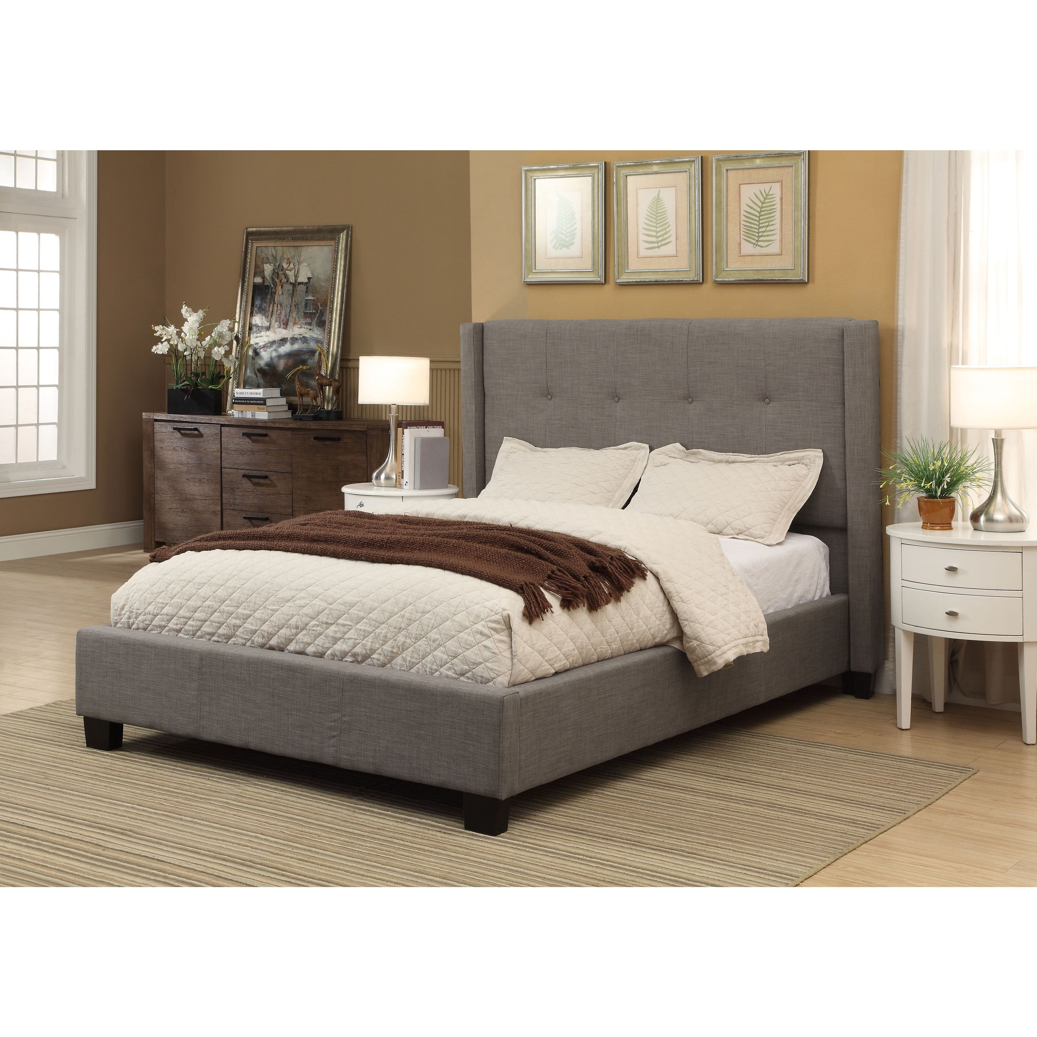 Shop Madeleine Wingback Platform Bed   Free Shipping Today   Overstock.com    10608405