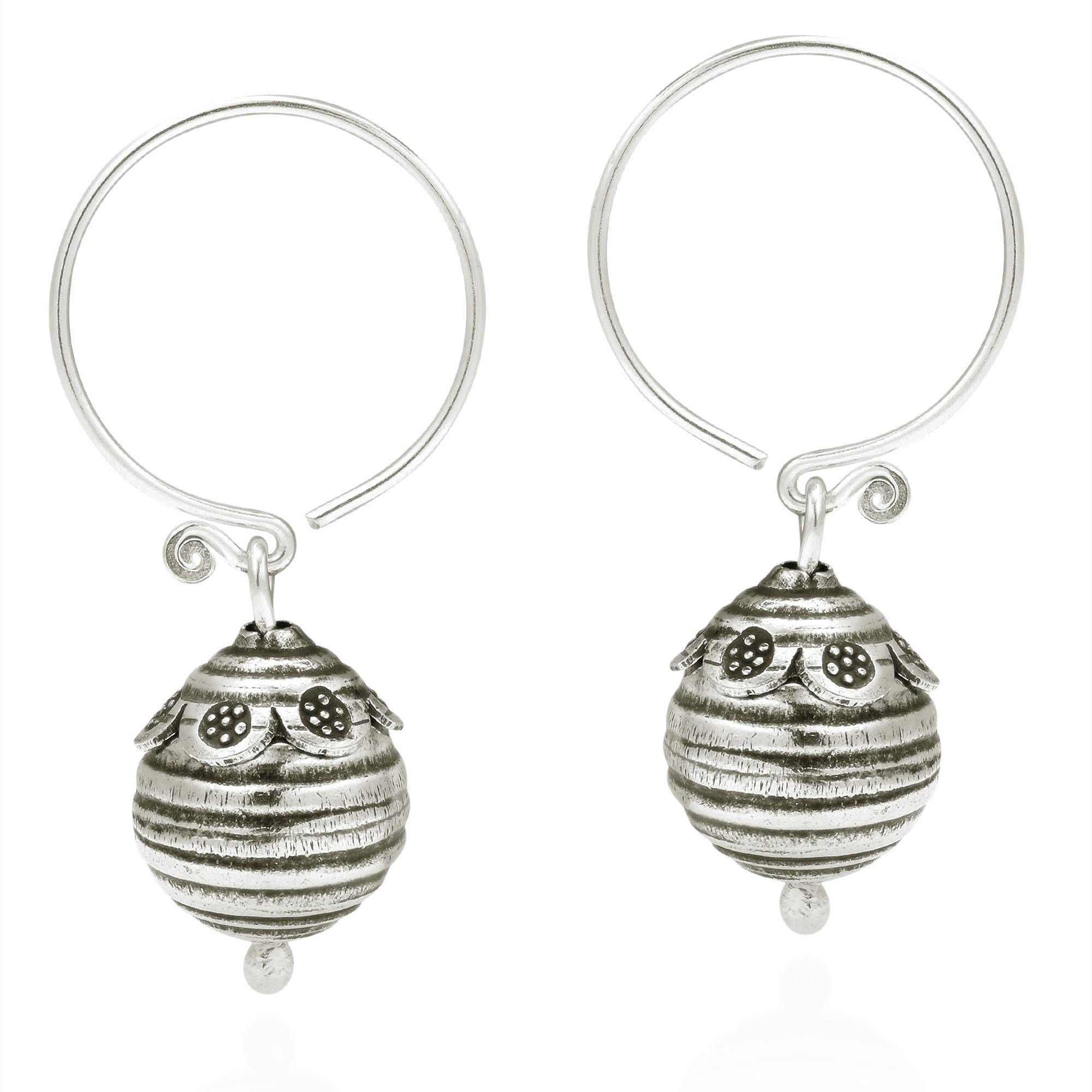 Handmade Flower Trimmed Bee Hive Karen Hill Tribe Silver Earrings Thailand On Free Shipping Orders Over 45 10609301