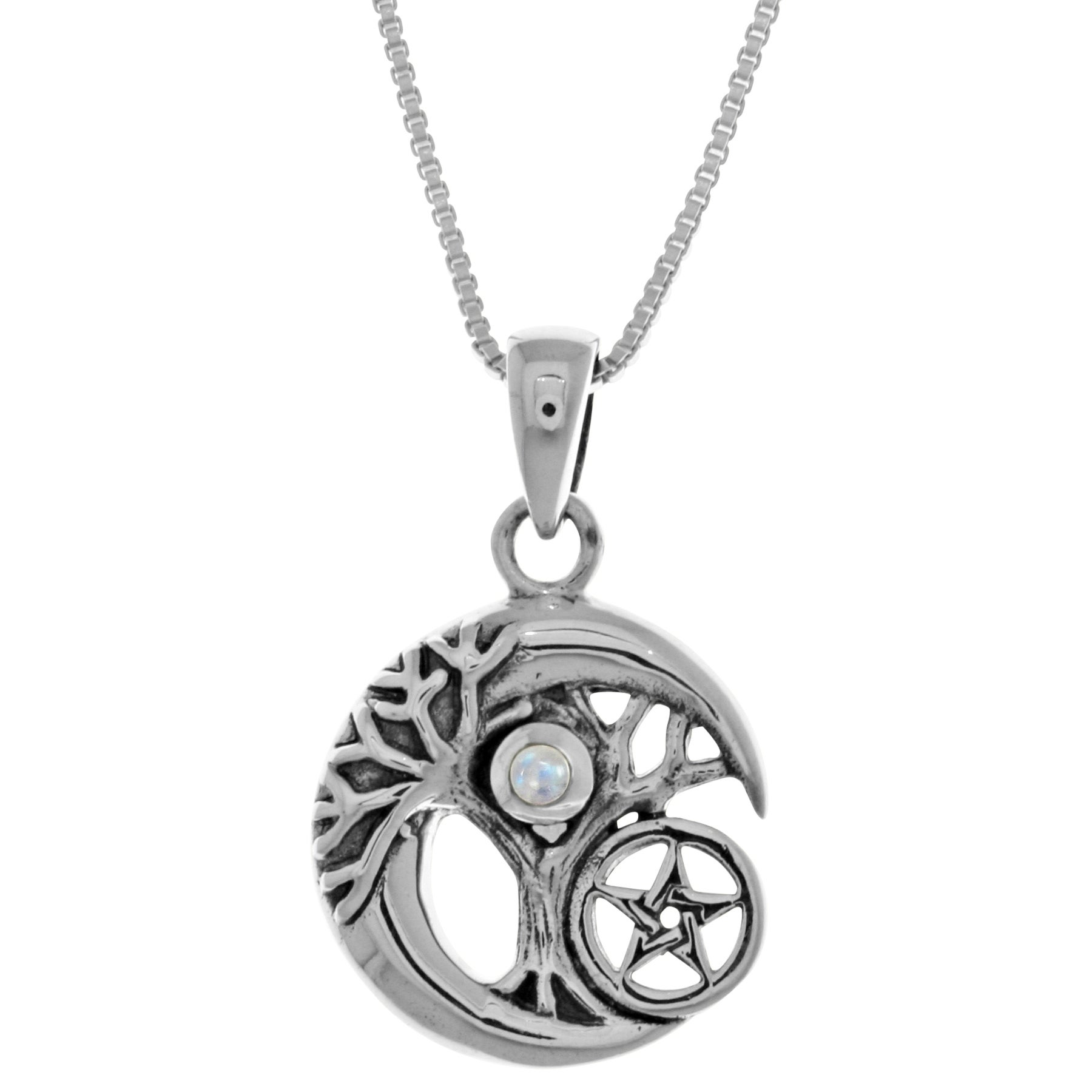 Sterl silver celtic tree of life moon star pendant free shipping sterl silver celtic tree of life moon star pendant free shipping on orders over 45 overstock 17681340 aloadofball Choice Image