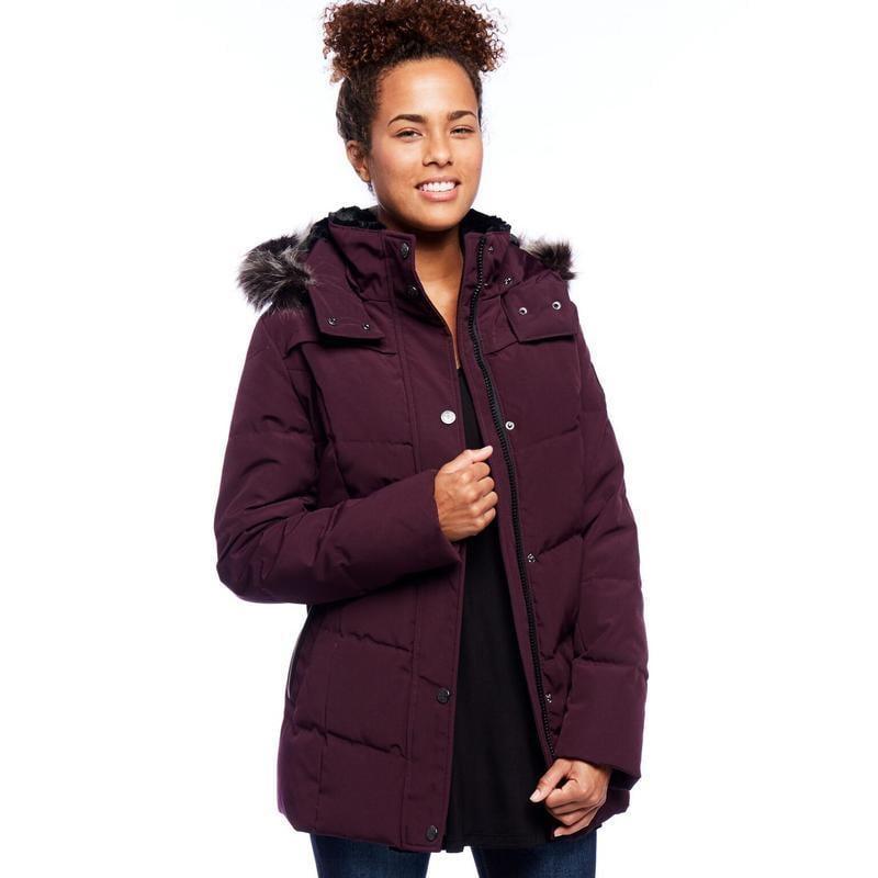 Women's Down Coat with Detachable Faux Fur Hood - Free Shipping ...