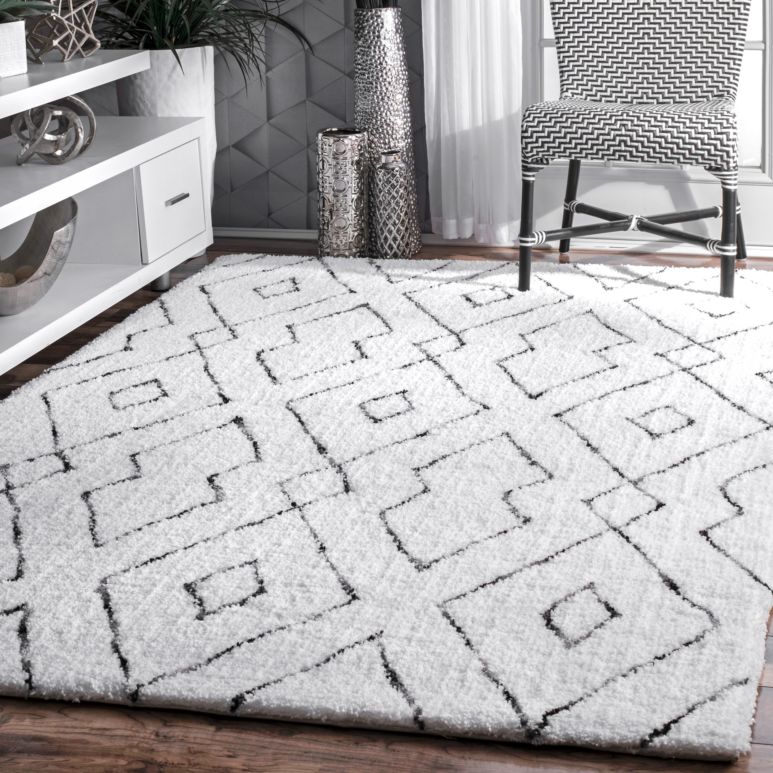 Nuloom White Handmade Soft And Plush Diamond Lattice Area Rug