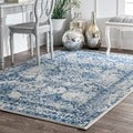 nuLOOM Vintage Floral Ornament Light Blue Rug (9' x 12')
