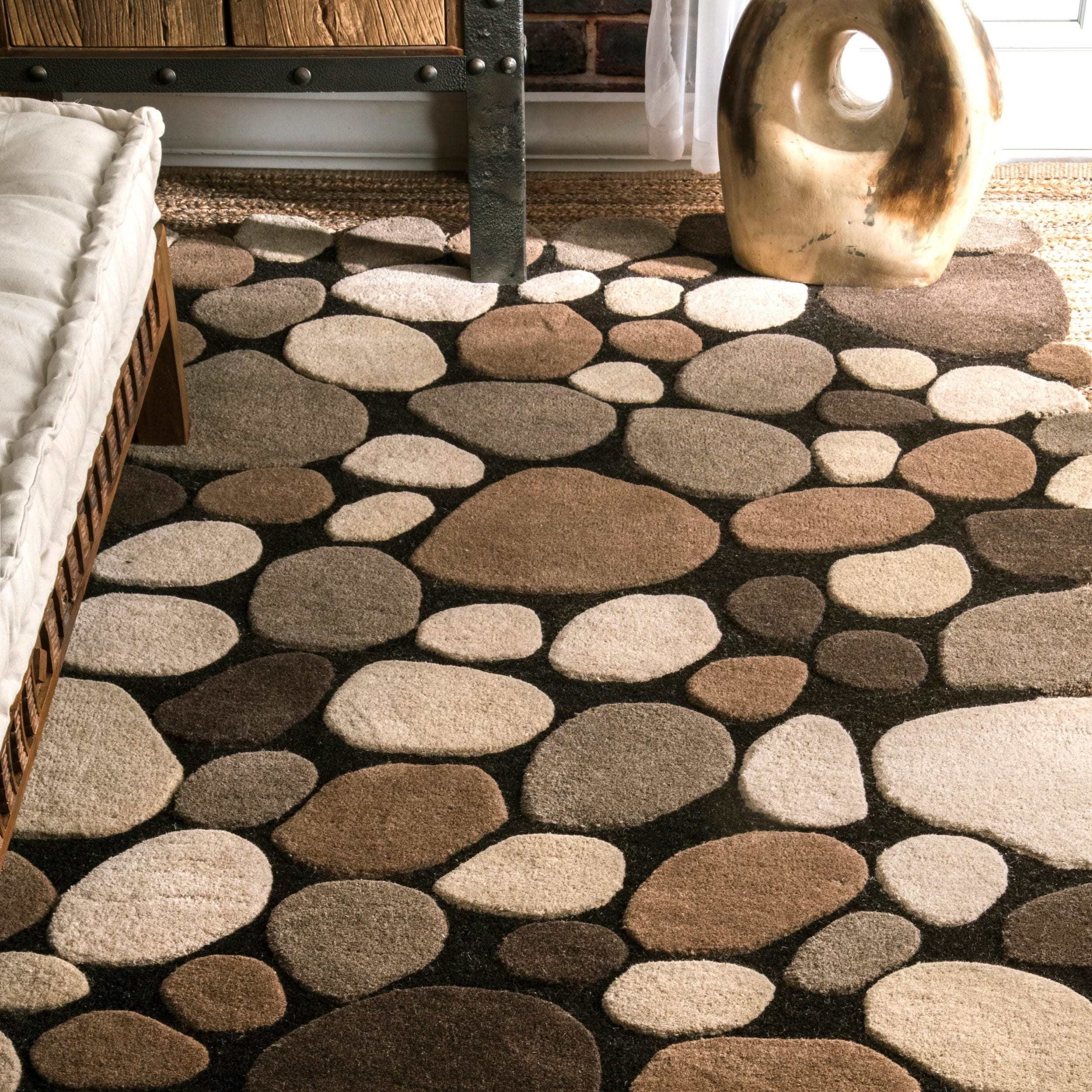 NuLOOM Hand Carved Stones And Pebbles Wool Natural Rug (8u00276 X 11u00276)   Free  Shipping Today   Overstock.com   17681894