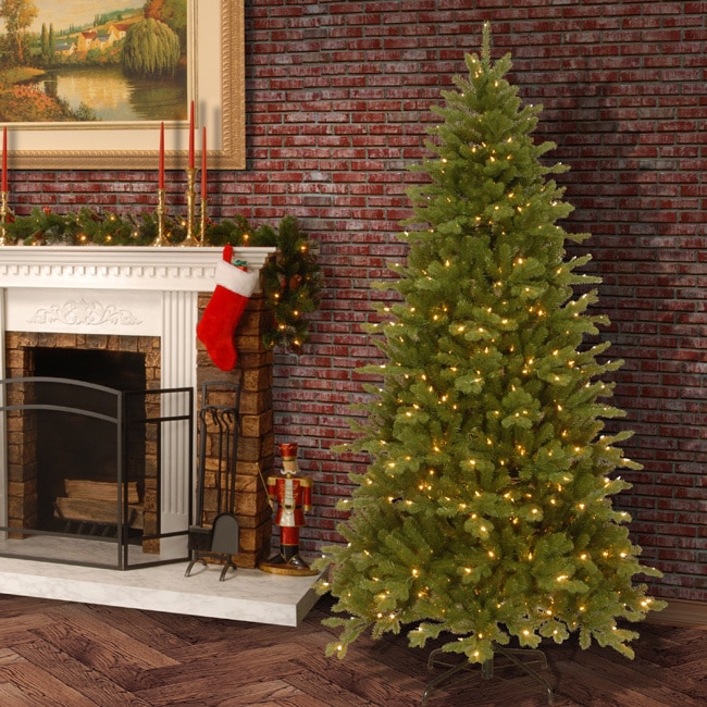 7.5-foot Pre-lit Deluxe Artificial Christmas Tree w/Clear Bulbs ...