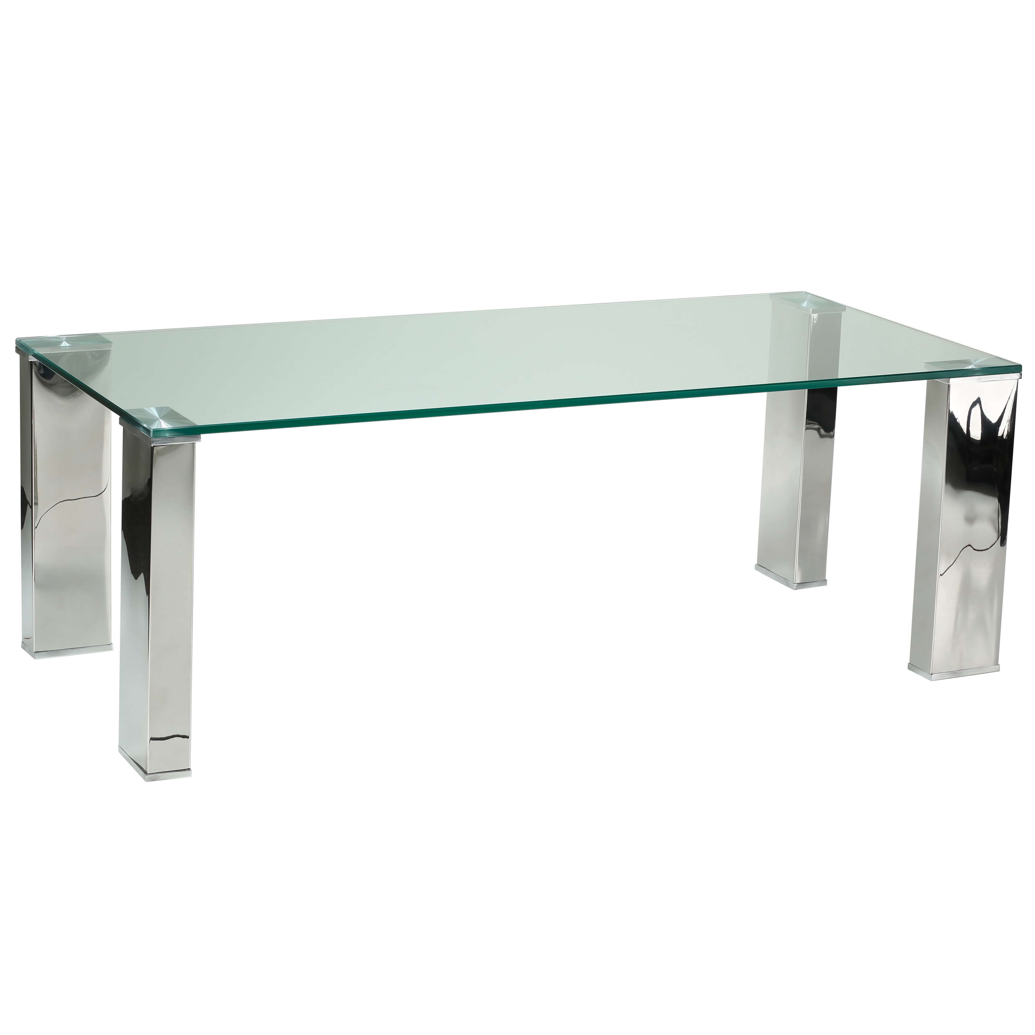 Cortesi Home Isaak Contemporary Glass Coffee Table with Chrome