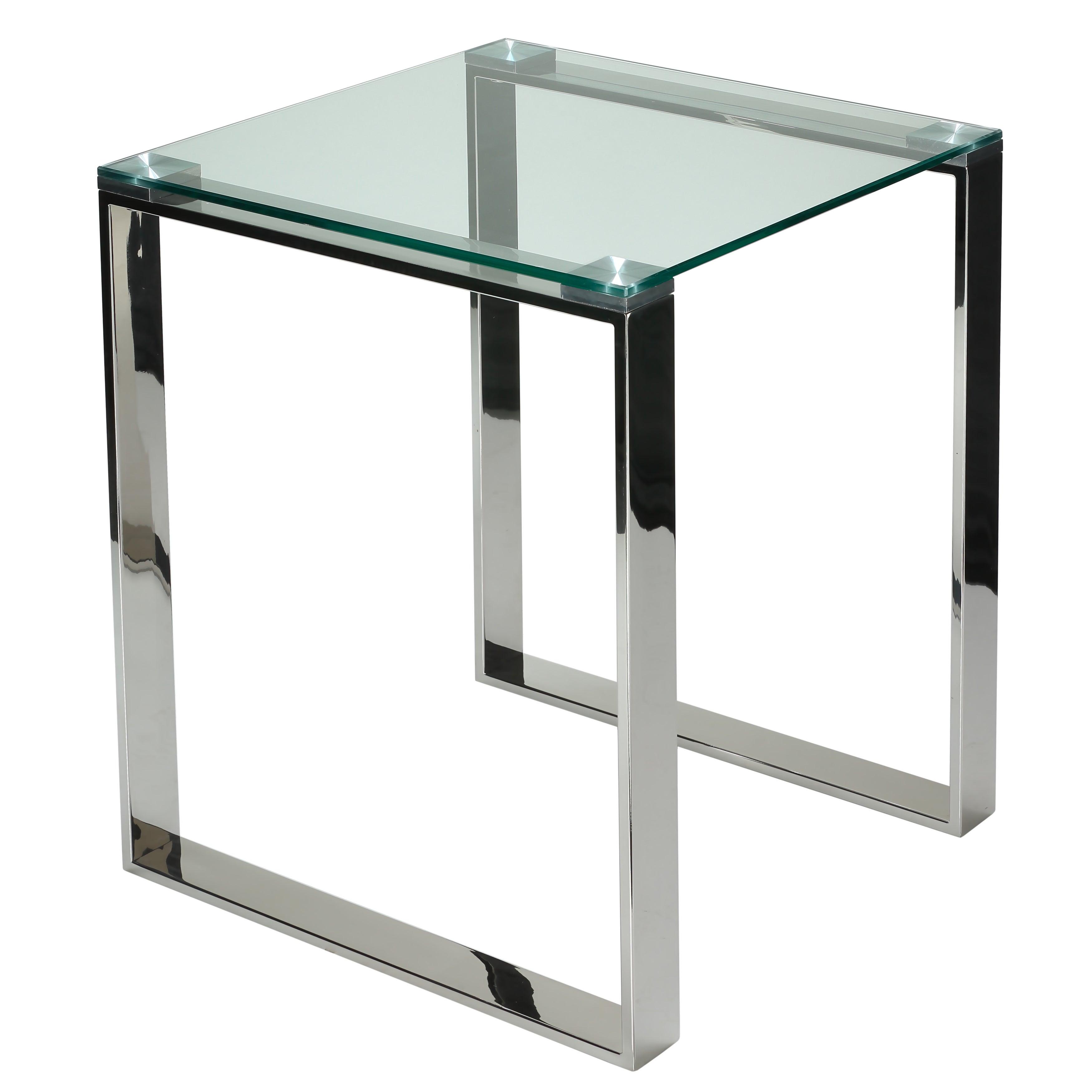Shop Cortesi Home Remi Contemporary Chrome Square Glass End Table