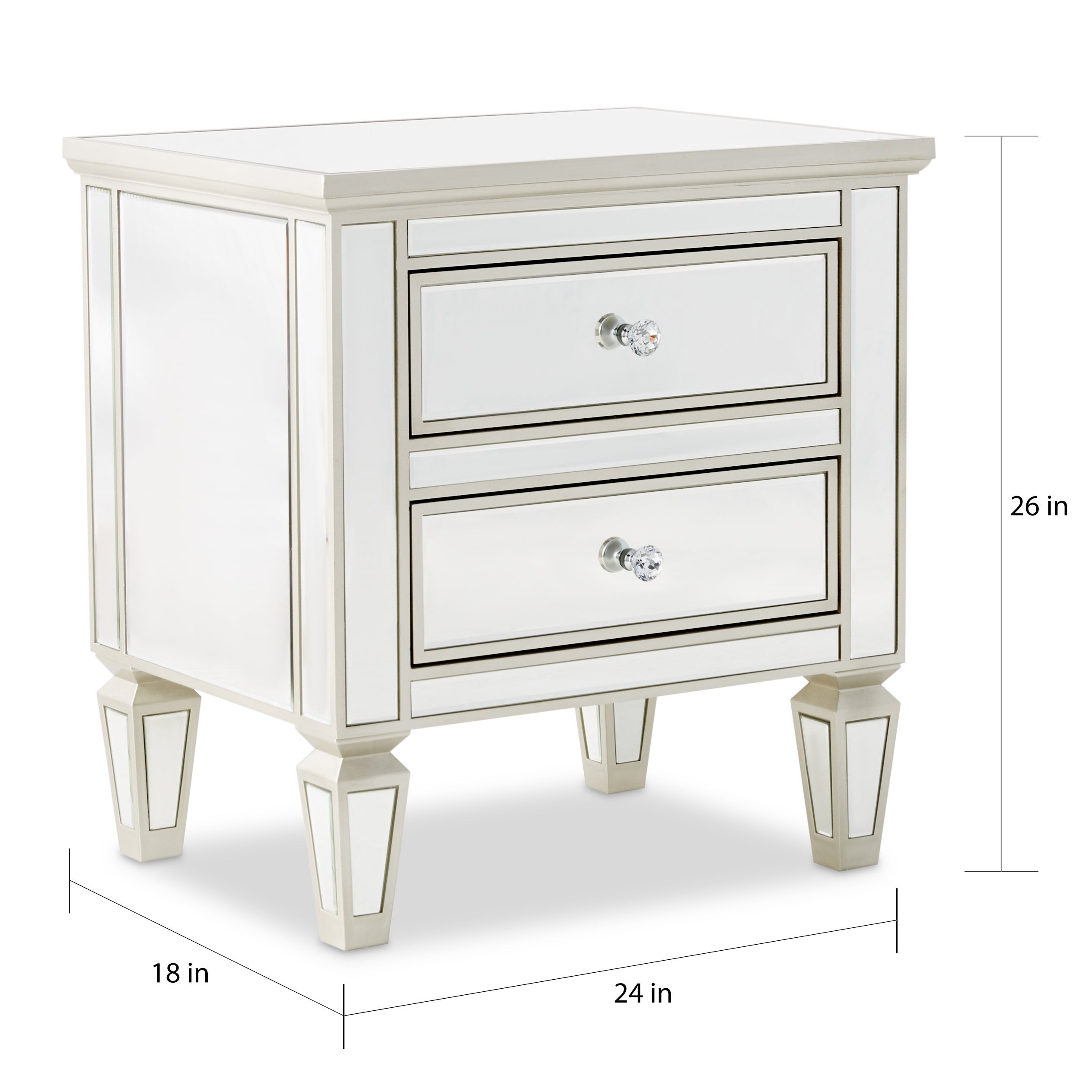 Abbyson Omni Mirrored 2 Drawer Chest Free Shipping Today 17683345