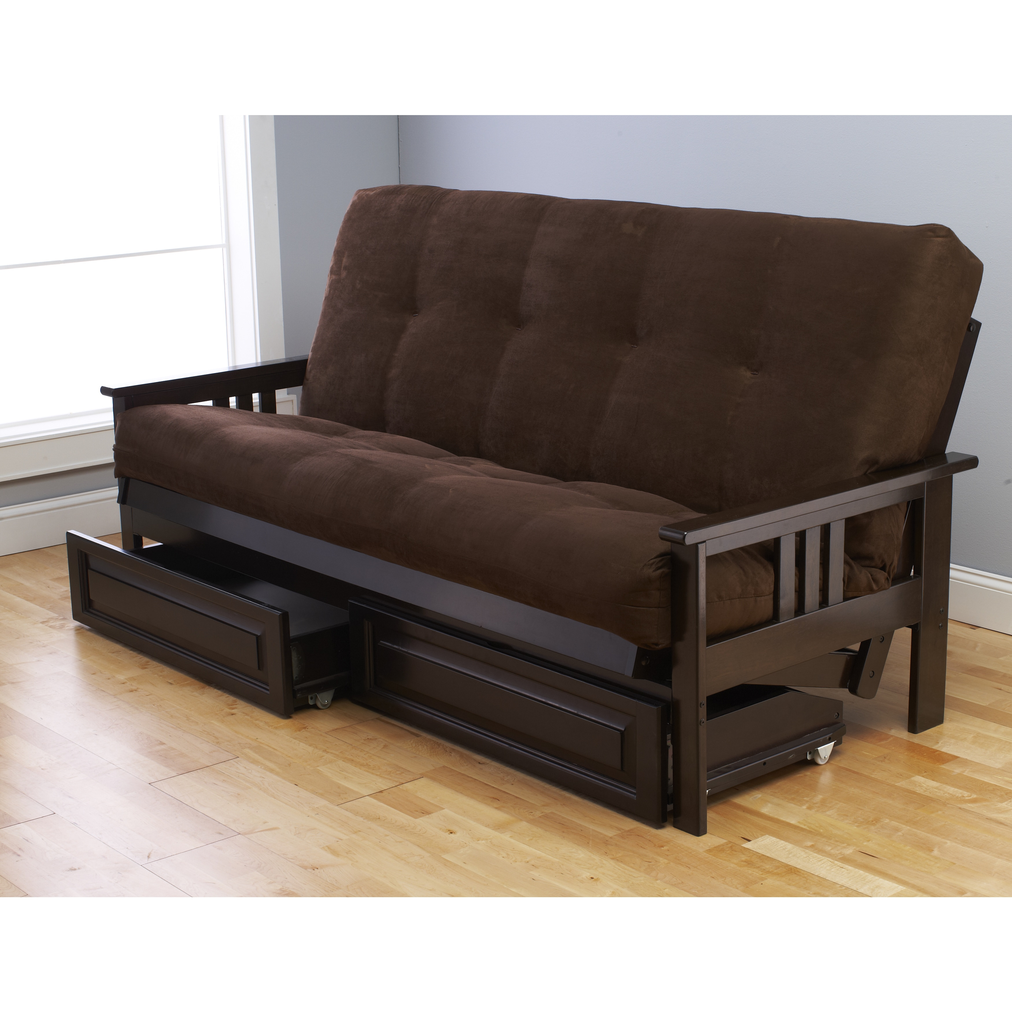 Clay Alder Home Desoto Espresso Full Size Futon With Suede Mattress And Storage Drawers Free Shipping Today Com 10612551