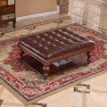 Classic Solid Wood Faux Leather Tufted Ottoman Bench