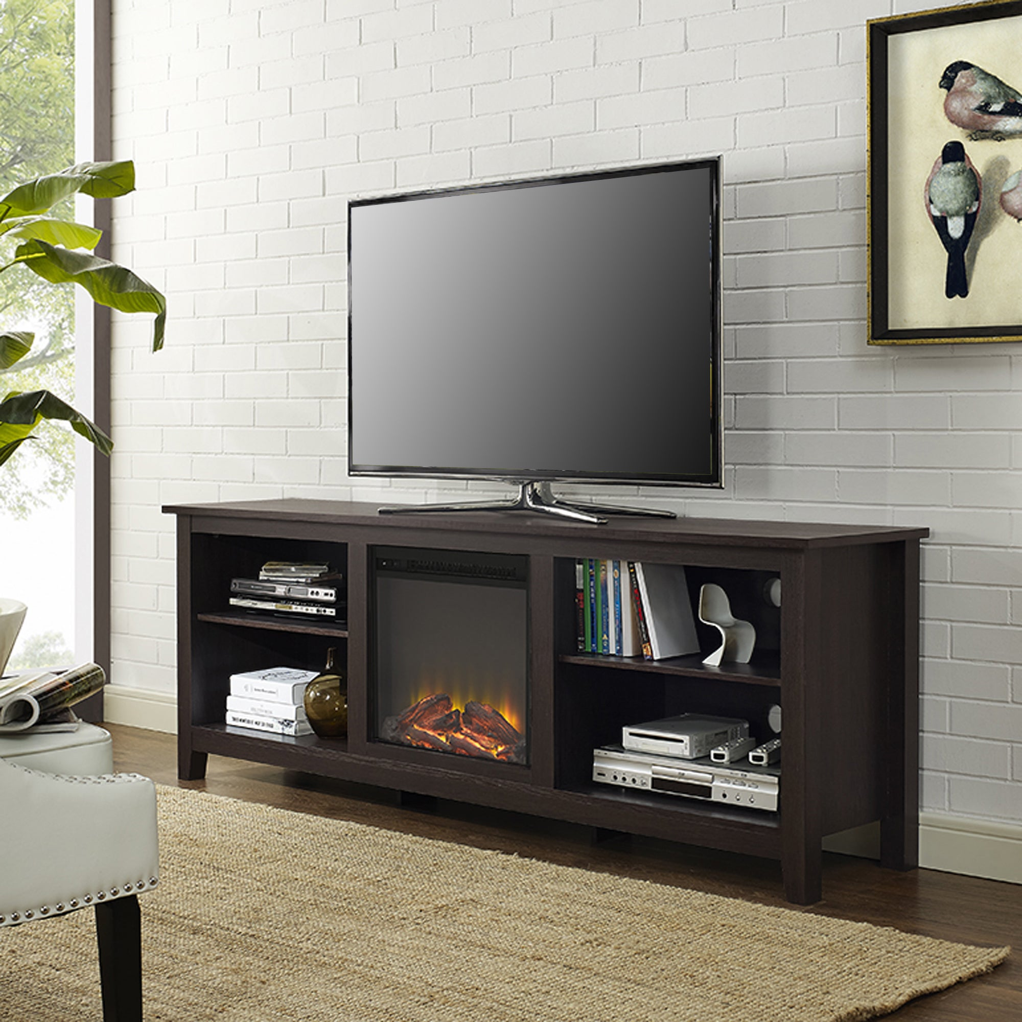 70 Fireplace Tv Stand Console Espresso X 16 24h Free Shipping Today 10613286