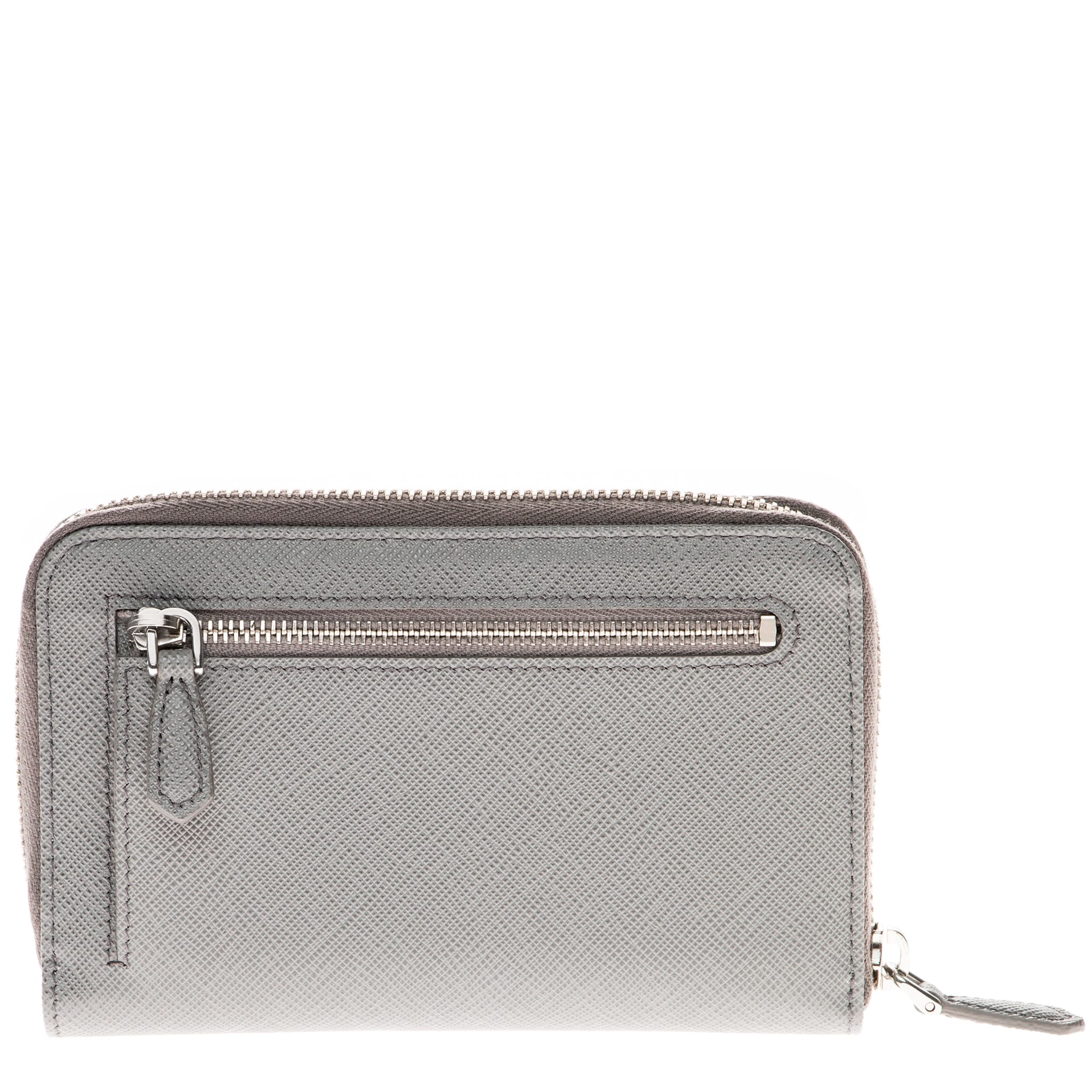 4cee3cdba93a69 Shop Prada Saffiano Triangle Leather Wallet Grey - Free Shipping Today -  Overstock - 10614113