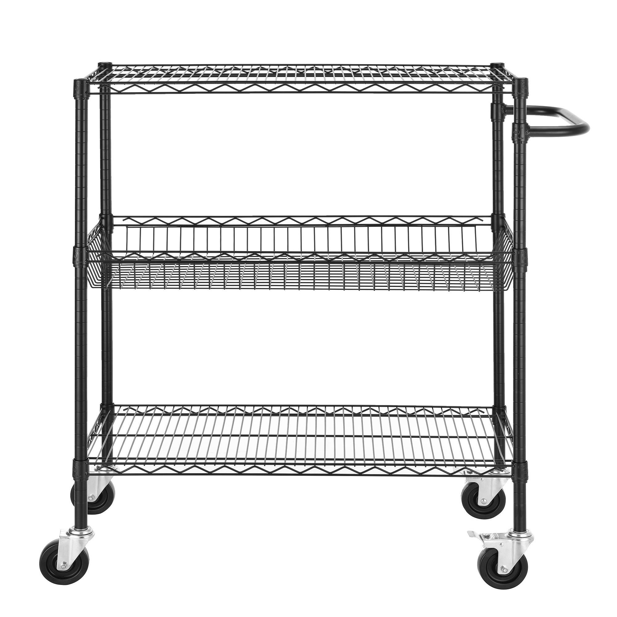 45-inch Heavy Duty Commercial Grade Black Wire Shelving Cart - Free ...