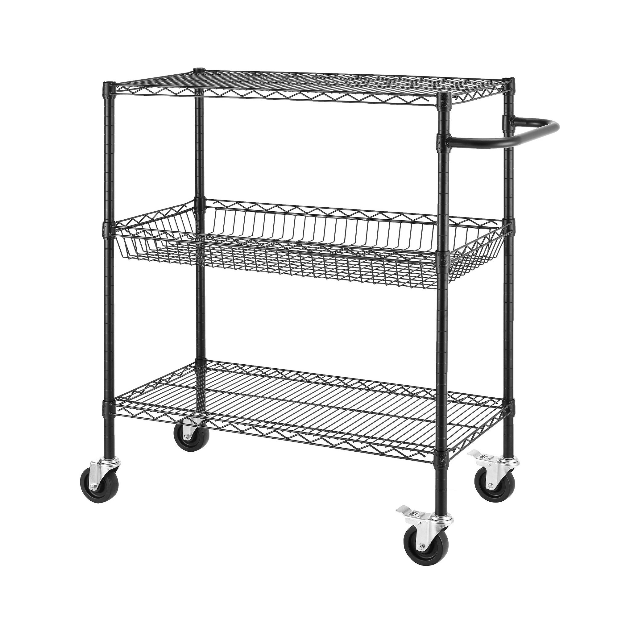 45-inch Heavy Duty Commercial Grade Black Wire Shelving Cart - Free ...