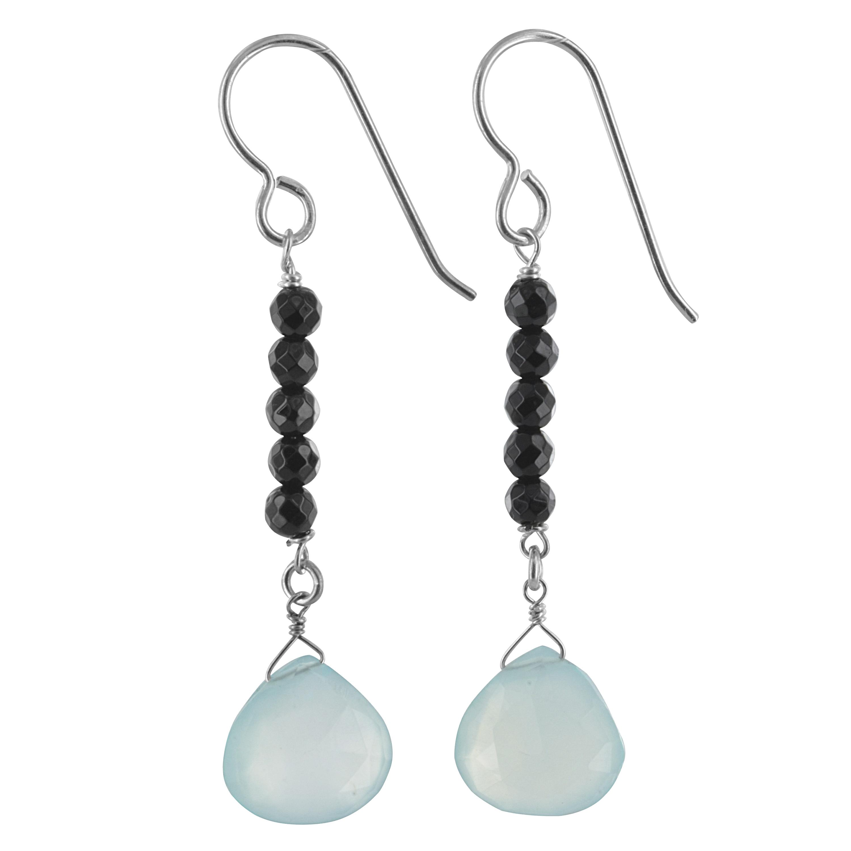 SPARKLER JEWELS Peridot Chalcedony Pear,925 Sterling Silver,Dangle Earrings,Fashion Gemstone Jewelry