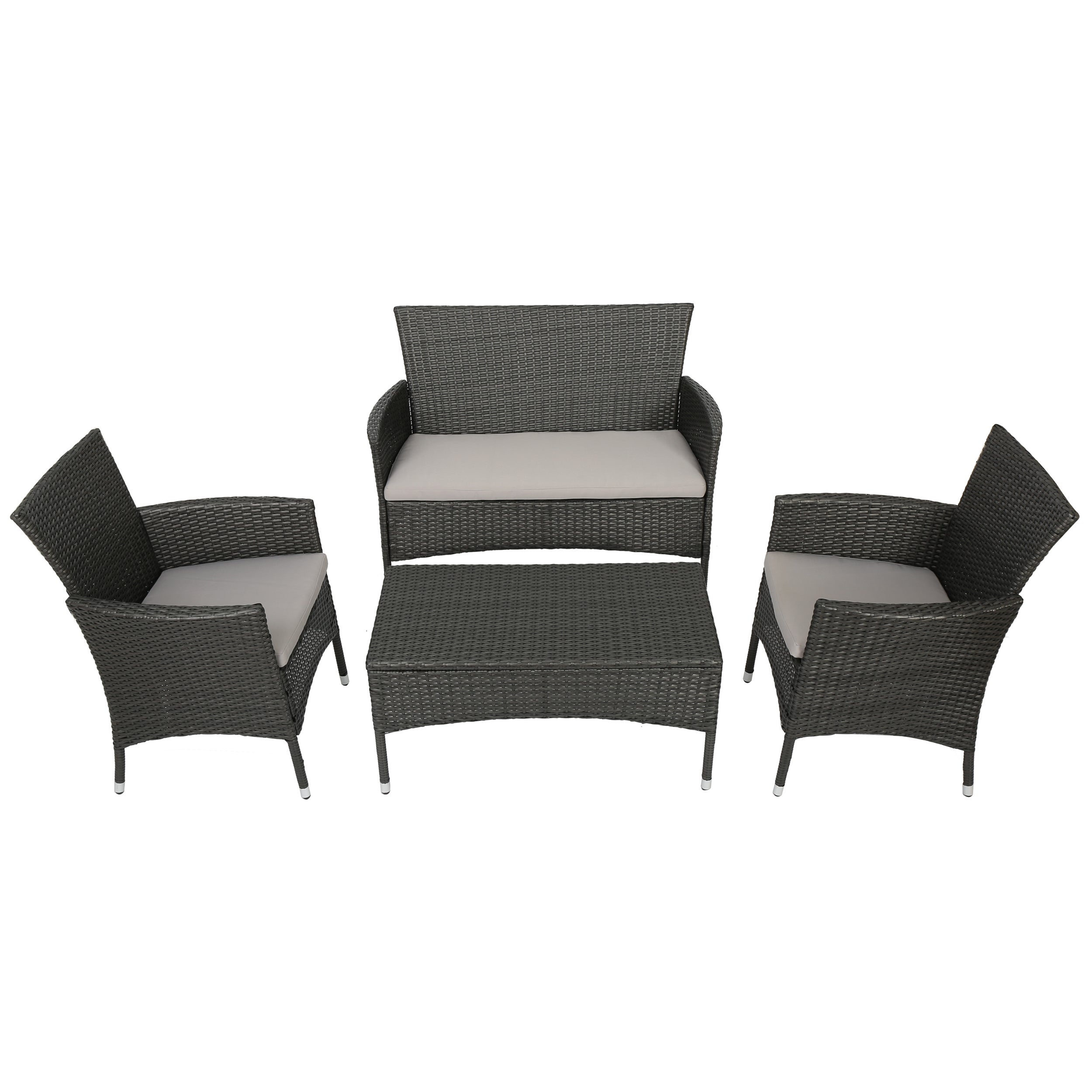 Malta Outdoor 4-piece Wicker Chat Set with Cushions by Christopher ...