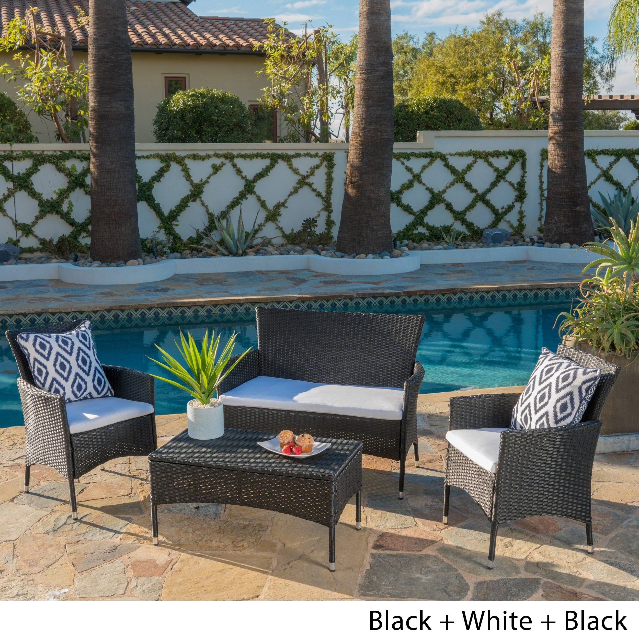 Shop Malta Outdoor 4-piece Wicker Chat Set with Cushions by Christopher Knight Home - On Sale - Free Shipping Today - Overstock.com - 10618217