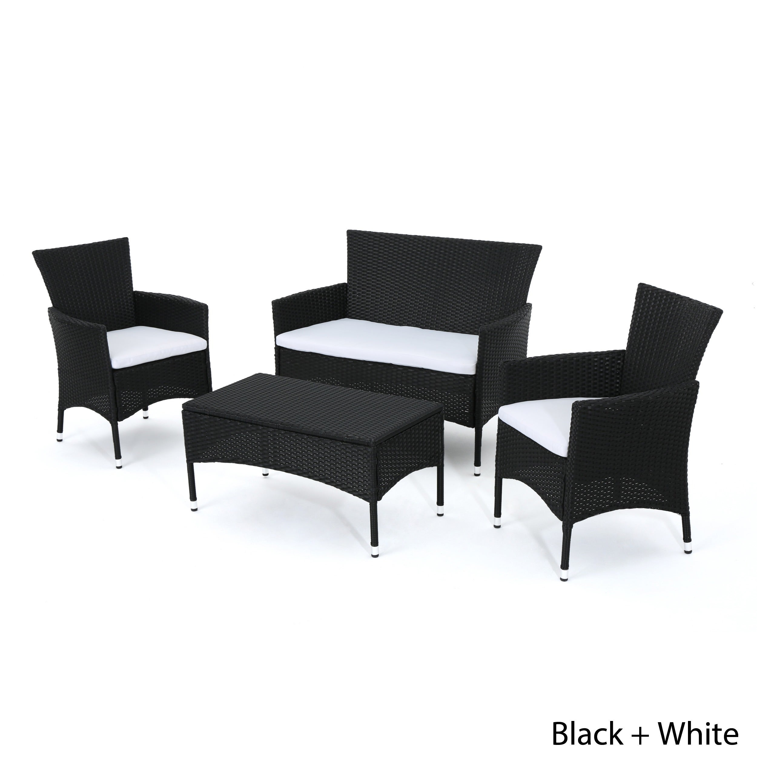 Malta Outdoor 4 piece Wicker Chat Set with Cushions by Christopher