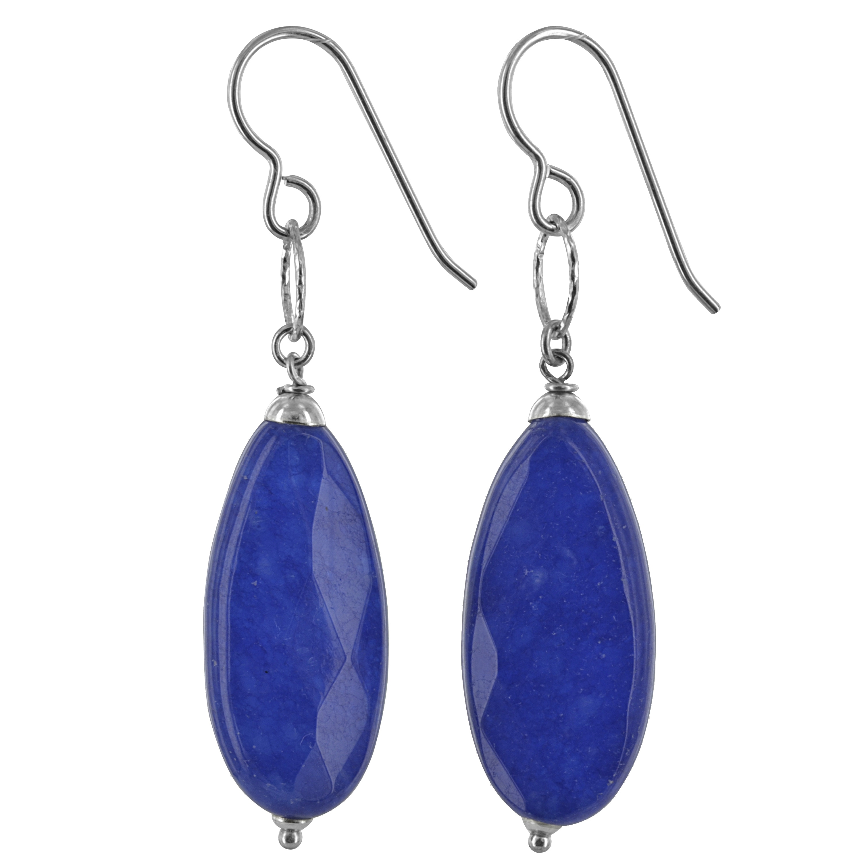 9b8d70bcc Shop Navy Blue Jade Gemstone Sterling Silver Handmade Earrings. Ashanti  Jewels - On Sale - Free Shipping On Orders Over $45 - Overstock.com -  10618226