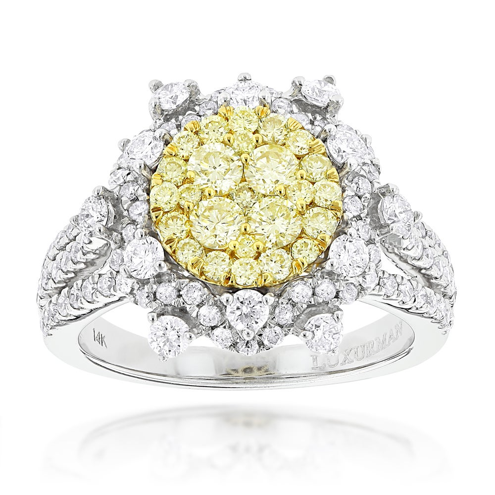 Luxurman 14k Gold 2ct Tdw Designer White And Yellow Diamond Flower