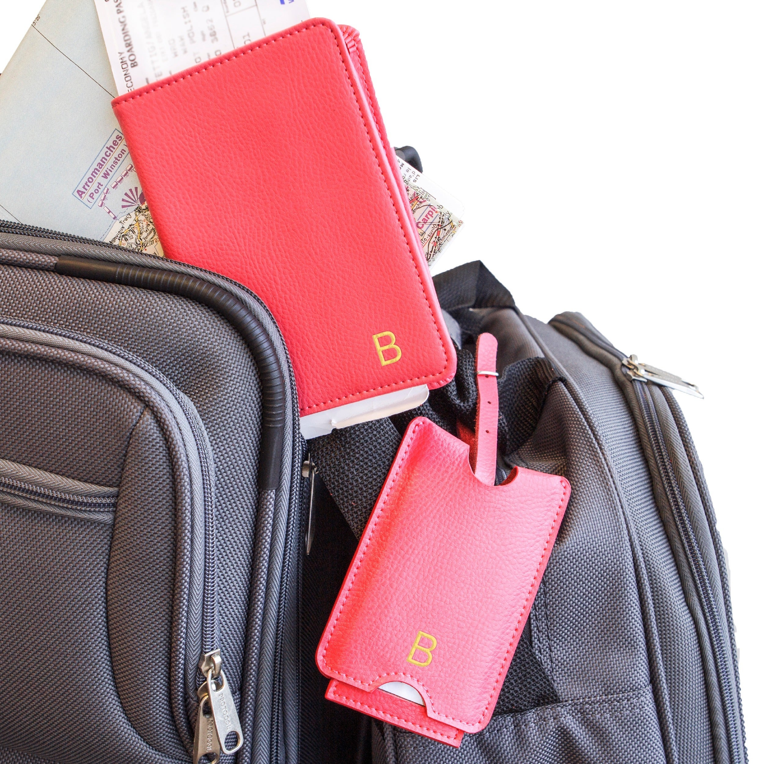 9659af83510 Shop Personalized Pink Leather Passport Holder   Luggage Tag Set - Free  Shipping Today - Overstock - 10620139