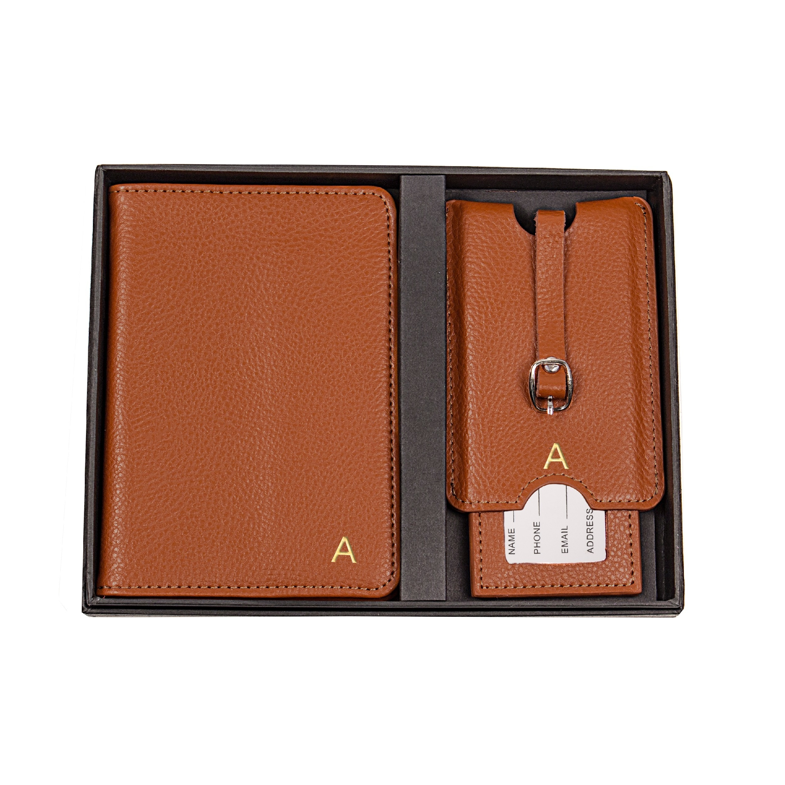 bd2e46440c6c Personalized Brown Leather Passport Holder & Luggage Tag Set