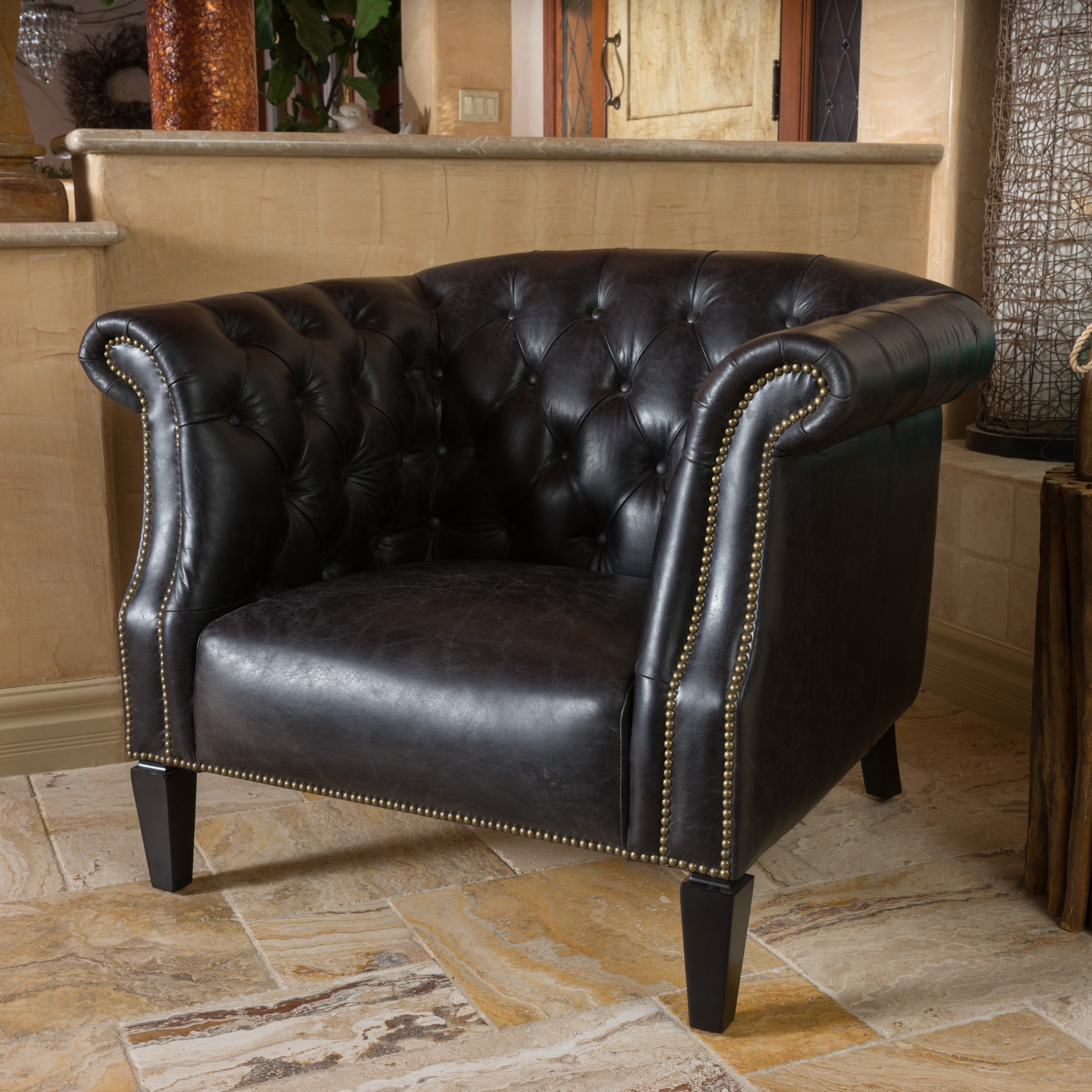 Shop Caleb Tufted Top Grain Leather Arm Chair By Christopher Knight Home    Free Shipping Today   Overstock.com   10626106