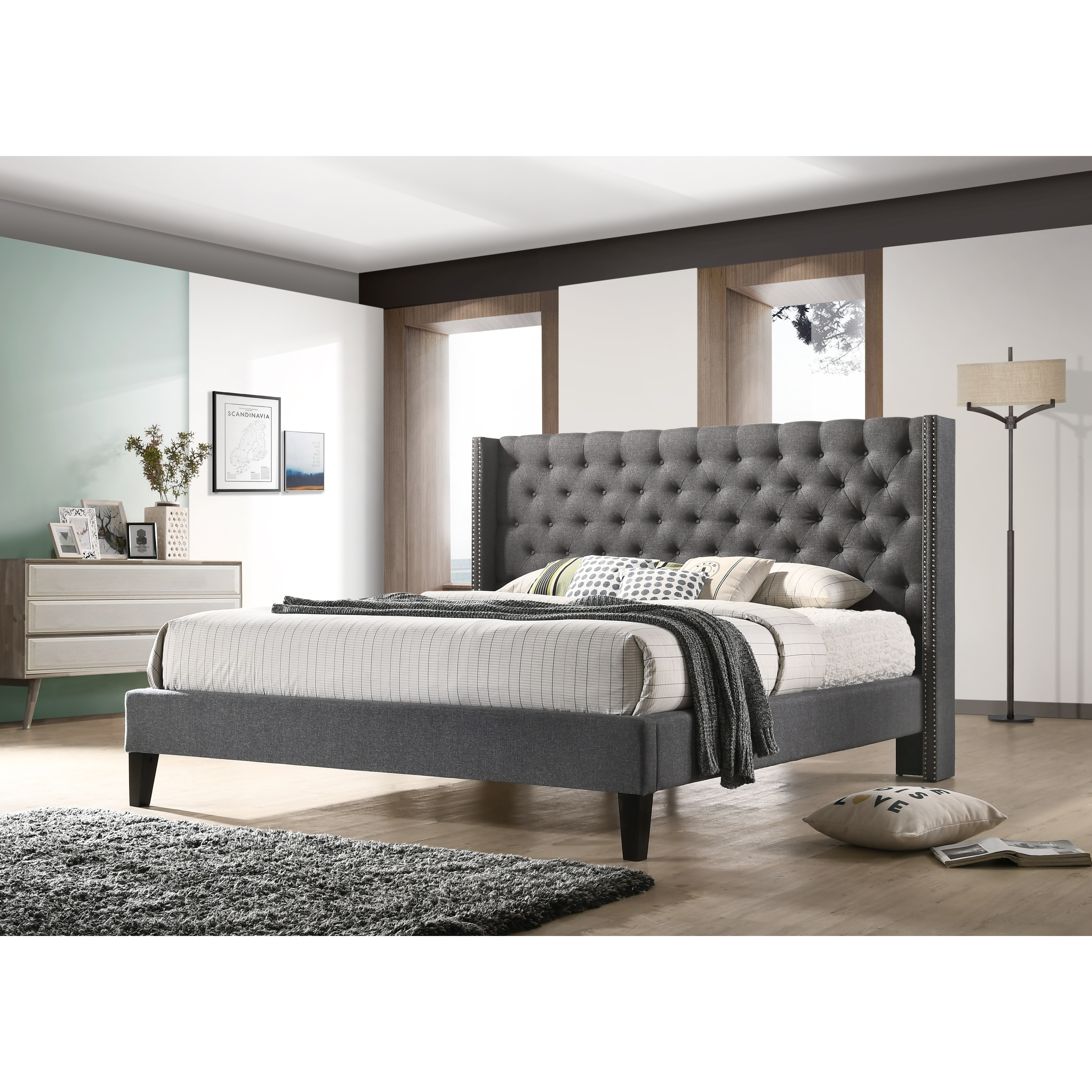 Altozzo Pacifica King Size Tufted Grey Fabric Upholstered Platform Contemporary Bed Free Shipping Today 10626793