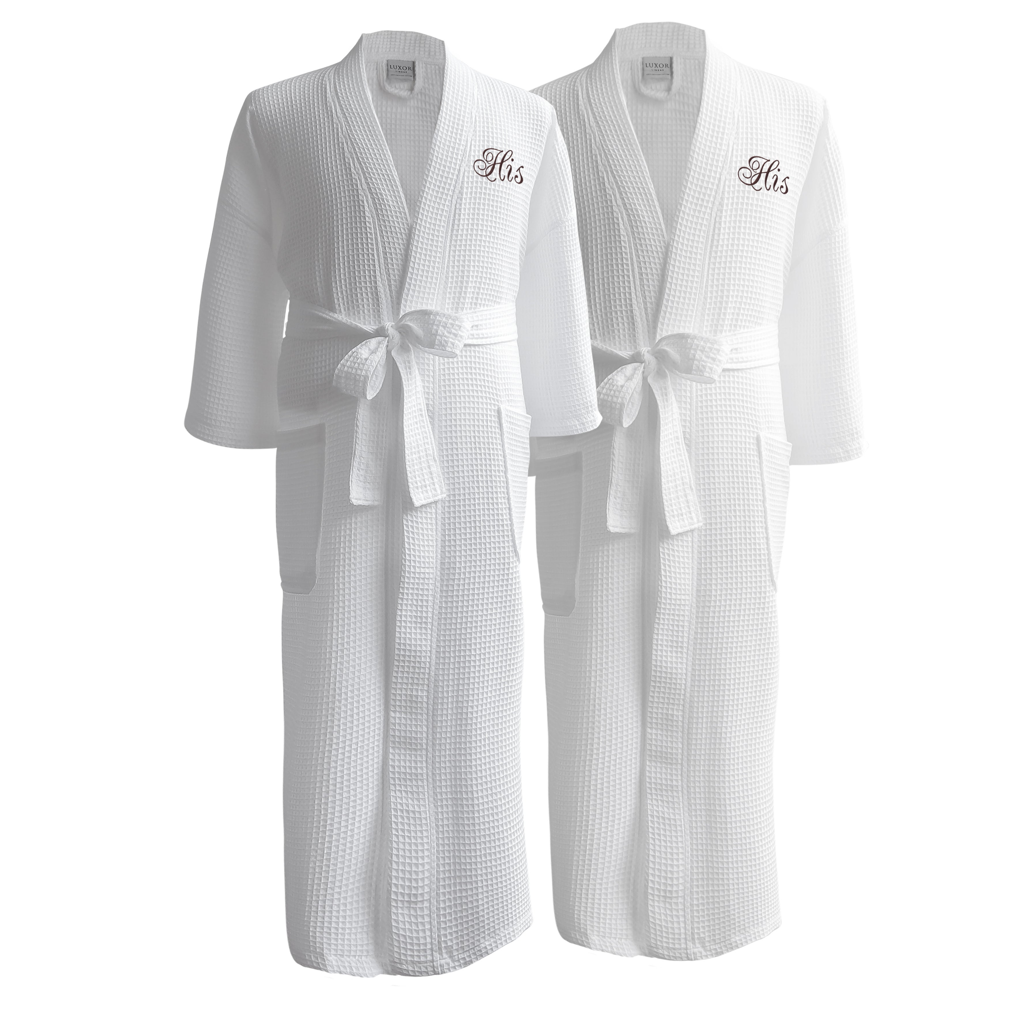 Conrad Egyptian Cotton His and His Waffle Spa Robe Set (Gift Packaging). by Luxor  Linens 027250196