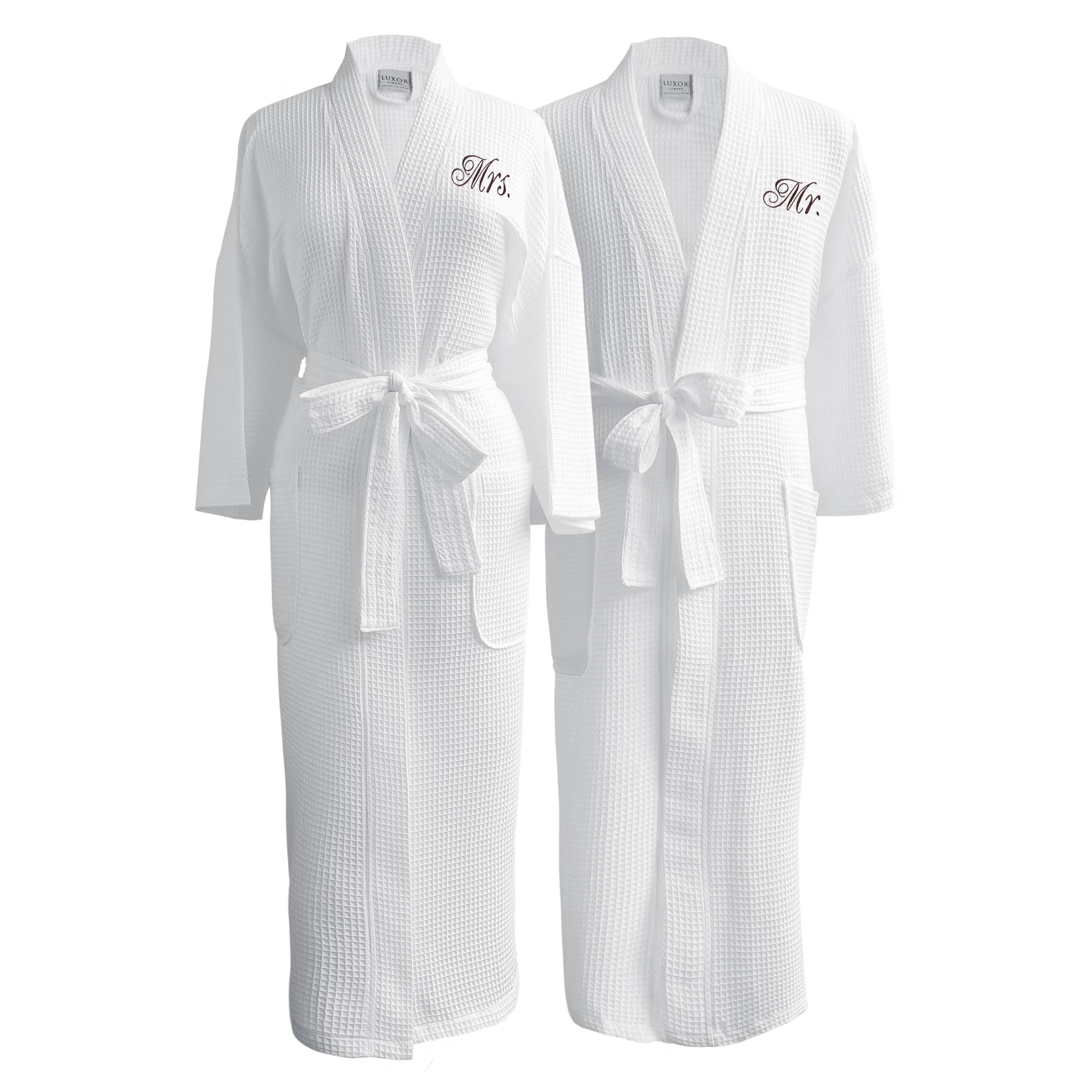 ada70d01e5c6 Conrad Egyptian Cotton Mr.   Mrs. Waffle Spa Robe Set (Gift Packaging)