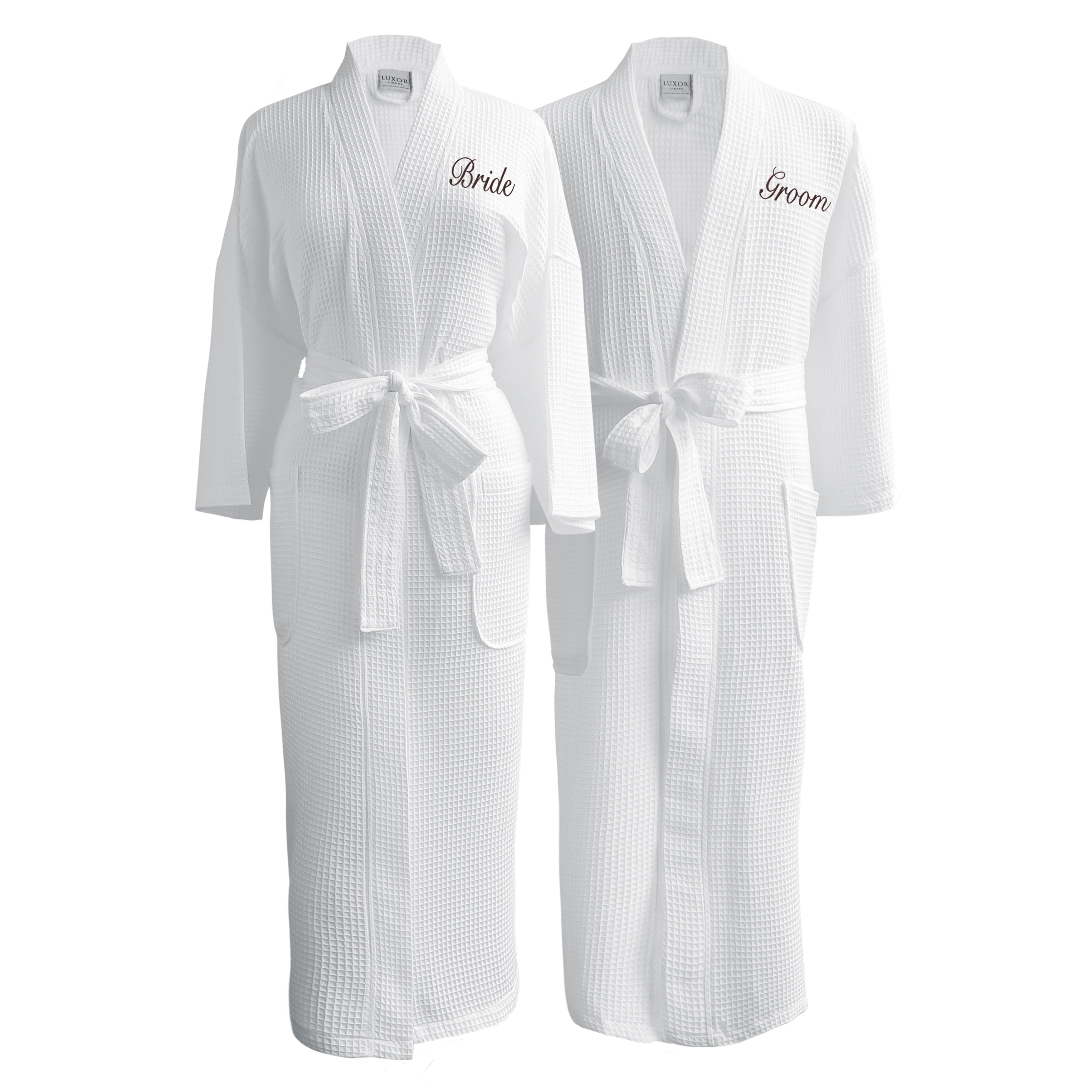 62be118dfb Conrad Egyptian Cotton Bride   Groom Waffle Spa Robe Set (Gift Packaging).  by Luxor Linens