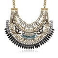 Adoriana White, Black and Aqua Crystal Bib Necklace