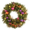 "30"" Kaleidoscope Wreath with Battery Operated Warm White LED Lights"