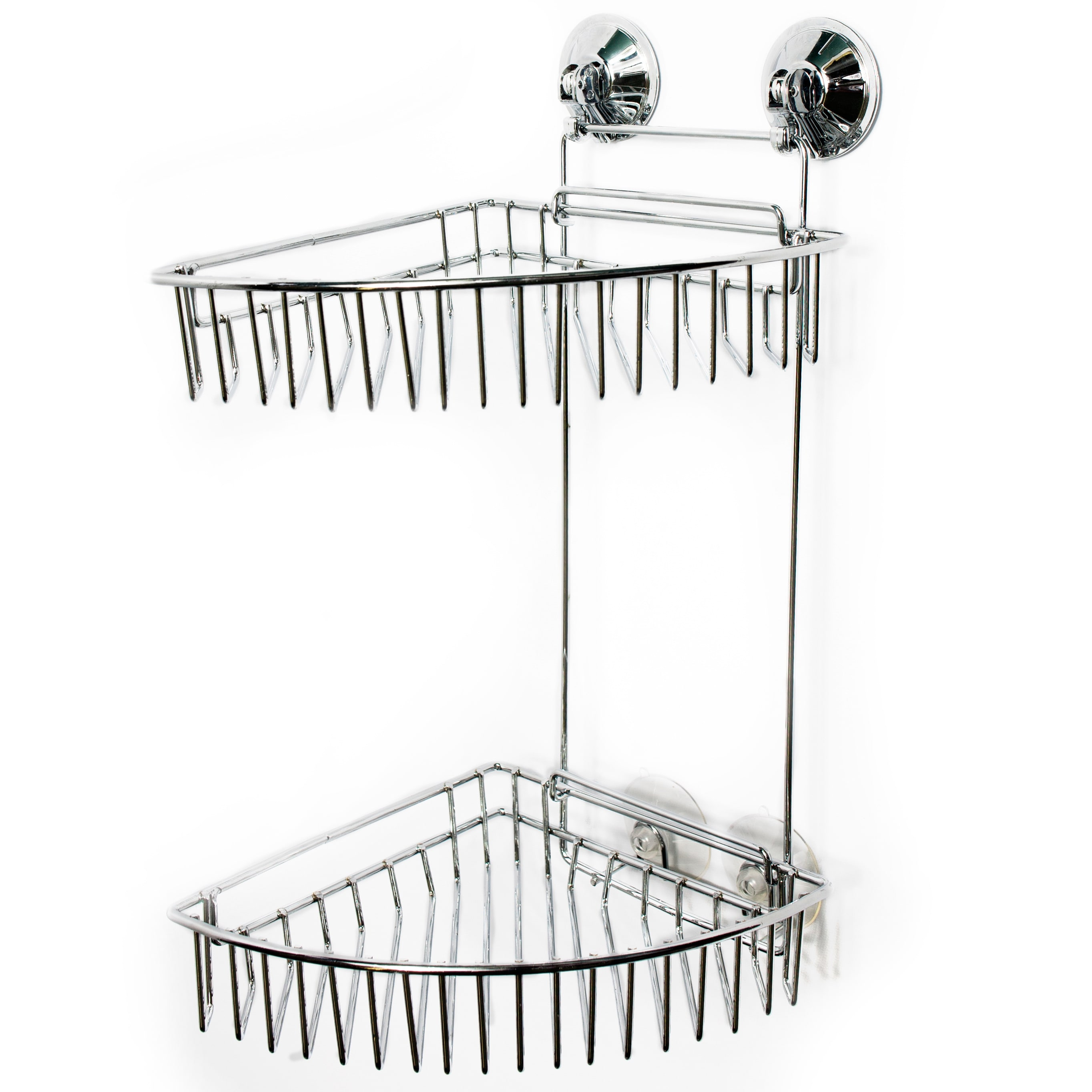Shop Durable Chrome Two-Tier Suction Lock Corner Shower Caddy - Free ...